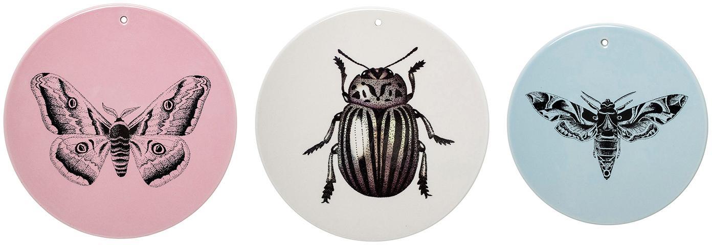 Wandobjectenset Fauna, 3-delig, Keramiek, Roze, beige, blauw, Set met verschillende formaten