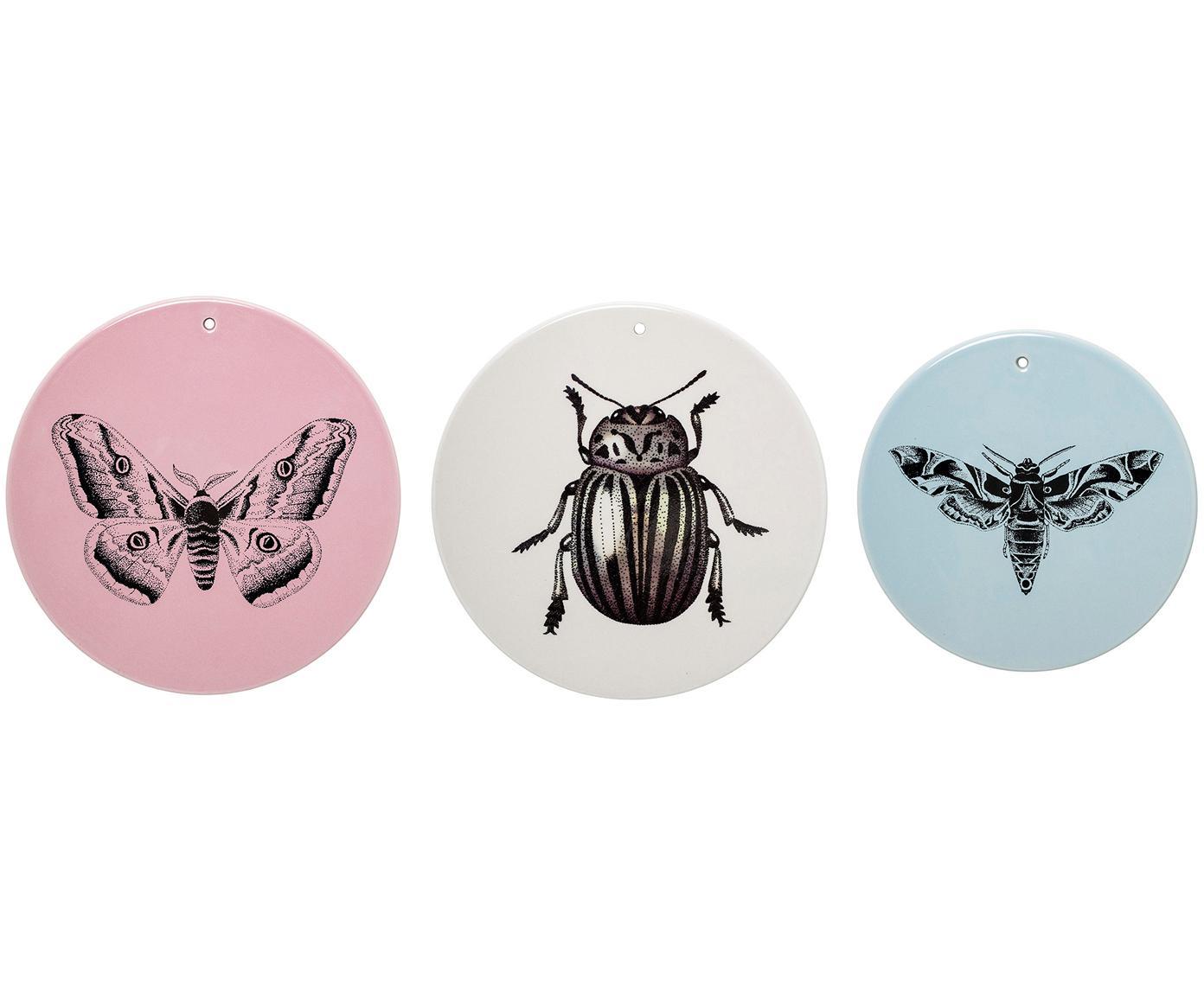 Wandobjekt-Set Fauna aus Steingut, 3-tlg., Steingut, Rosa, Beige, Blau, Verschiedene Grössen