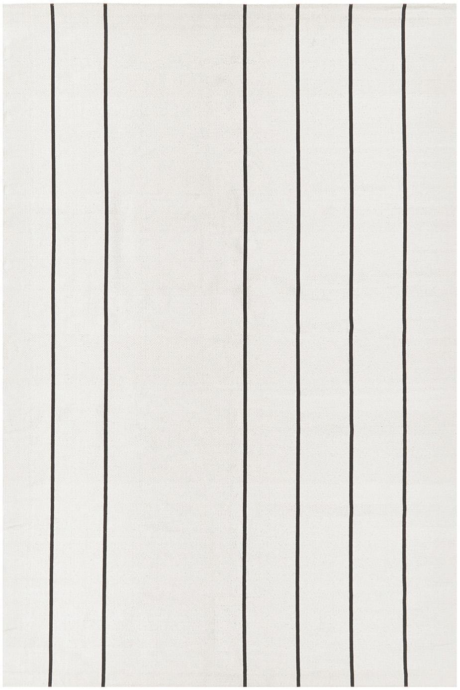 Flachgewebter Baumwollteppich David mit Linien, handgefertigt, 100% Baumwolle, Cremeweiß, Schwarz, B 120 x L 180 cm (Größe S)