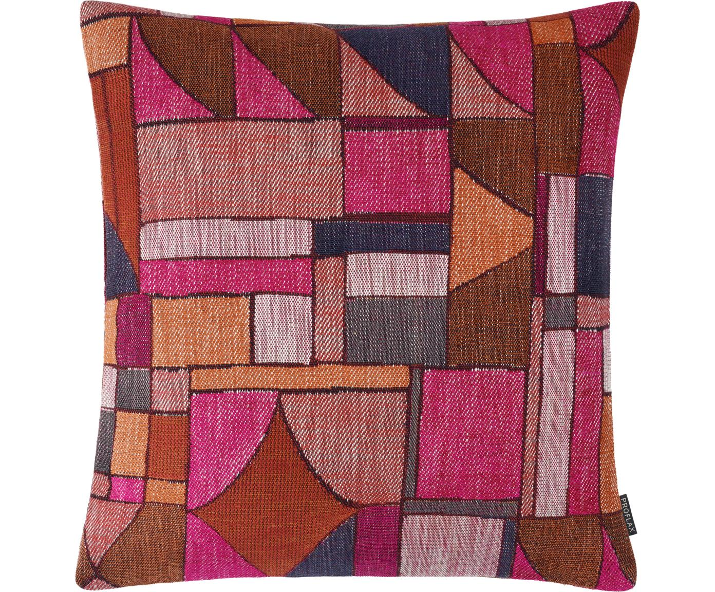 Kissenhülle Morris mit abstraktem Muster, 64% Viskose, 19% Baumwolle, 11% Leinen, 6% Polyester, Rosa, Mehrfarbig, 40 x 40 cm