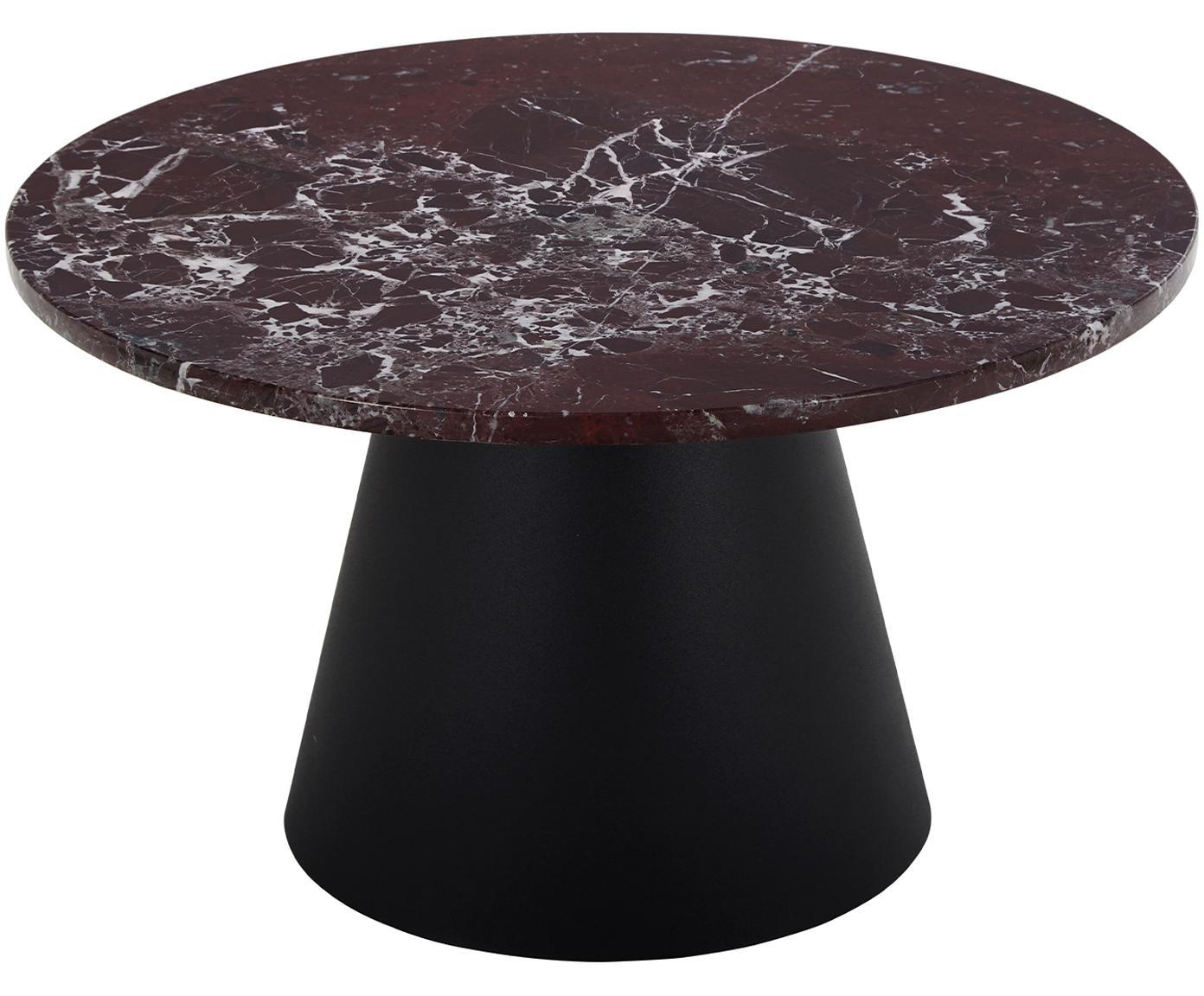 Runder Marmor-Couchtisch Mary, Tischplatte: Marmor, Gestell: Metall, beschichtet, Rot-weißer Marmor, Schwarz, ∅ 70 x H 40 cm