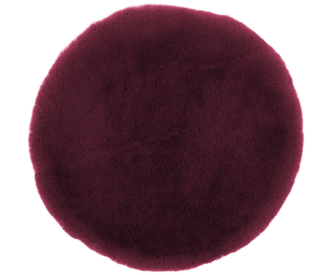 Kunstfell-Sitzauflage Mette, glatt, Vorderseite: 100% Polyester, Rückseite: 100% Polyester, Dunkelrot, Ø 37 cm