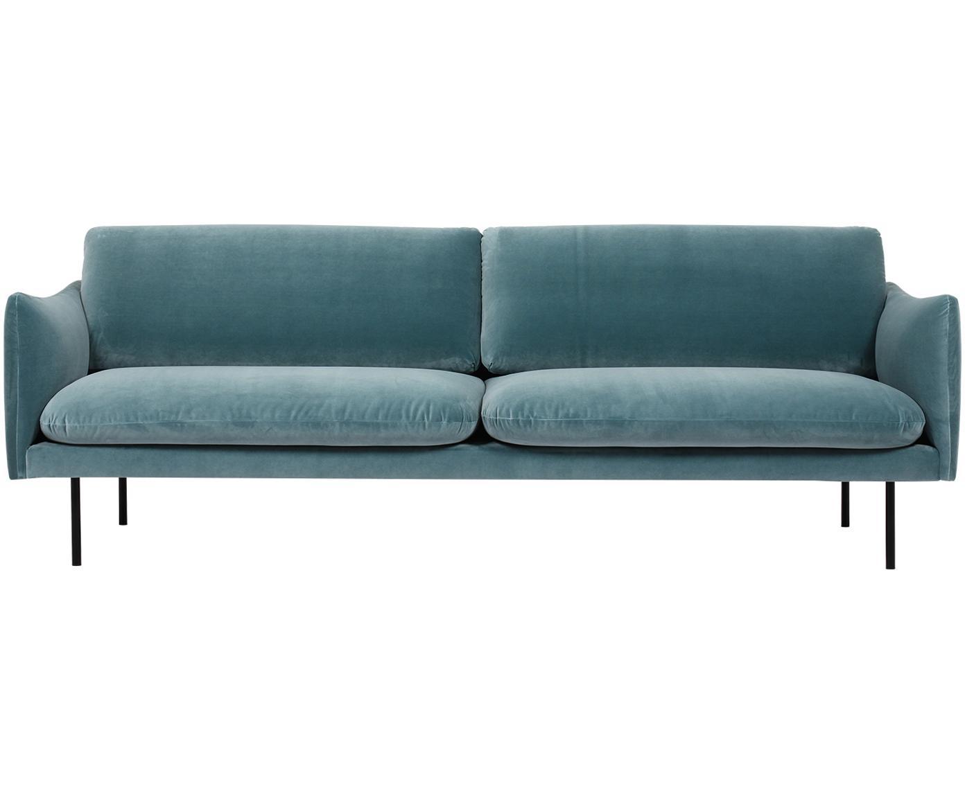 Fluwelen bank Moby (3-zits), Bekleding: fluweel (hoogwaardige pol, Frame: massief grenenhout, Poten: gepoedercoat metaal, Turquoise, B 220 x D 95 cm