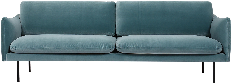 Sofa z aksamitu Moby (3-osobowa), Tapicerka: aksamit (wysokiej jakości, Stelaż: lite drewno sosnowe, Nogi: metal malowany proszkowo, Turkusowy aksamit, S 220 x G 95 cm