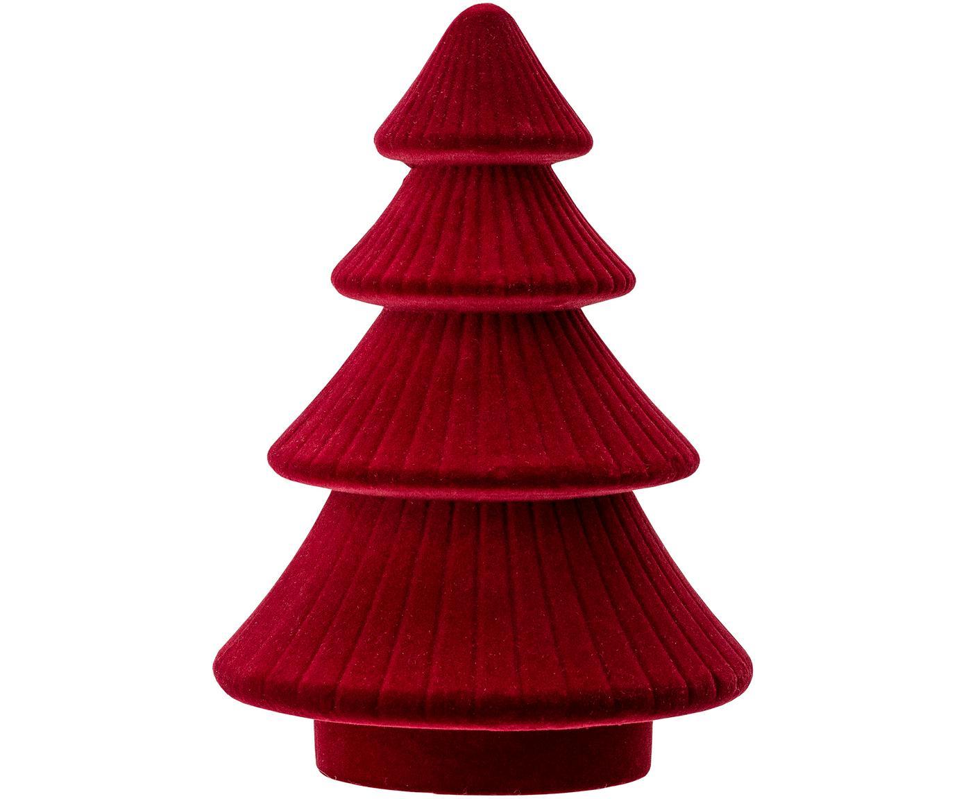 Pieza decorativa Tree, Tablero de fibras de densidad media (MDF), terciopelo de poliéster, Rojo, Ø 14 x Al 20 cm