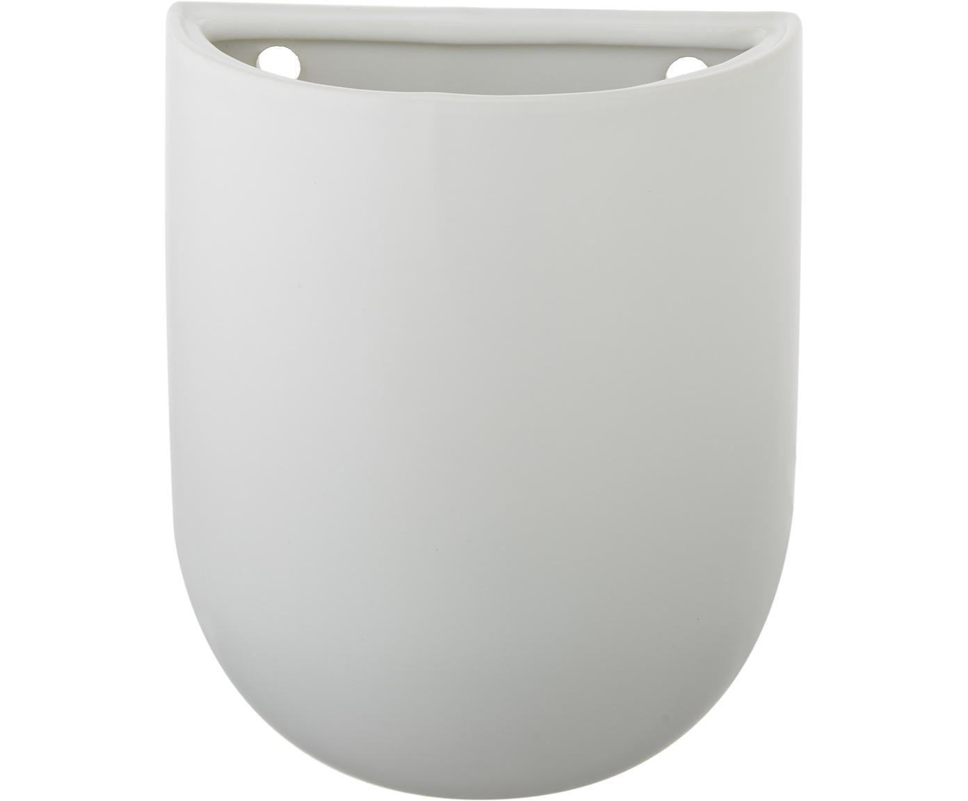 Wand-Übertopf Oval, Keramik, Weiß, 15 x 19 cm