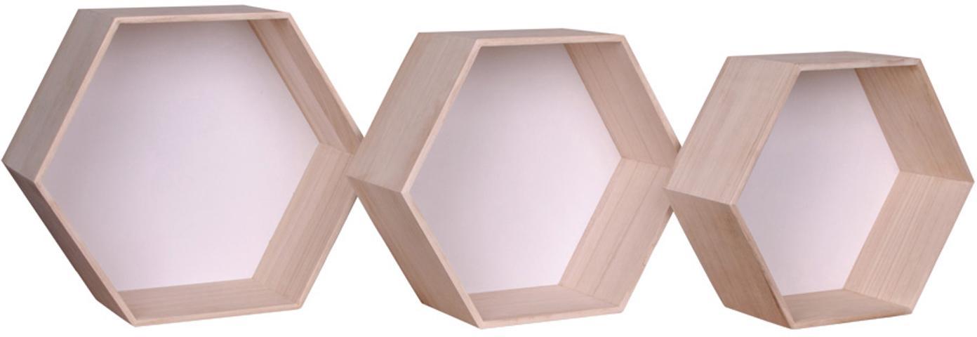 Set de estantes de pared Garda, 3pzas., Madera de Paulownia, Blanco, madera de Paulownia, Set de diferentes tamaños