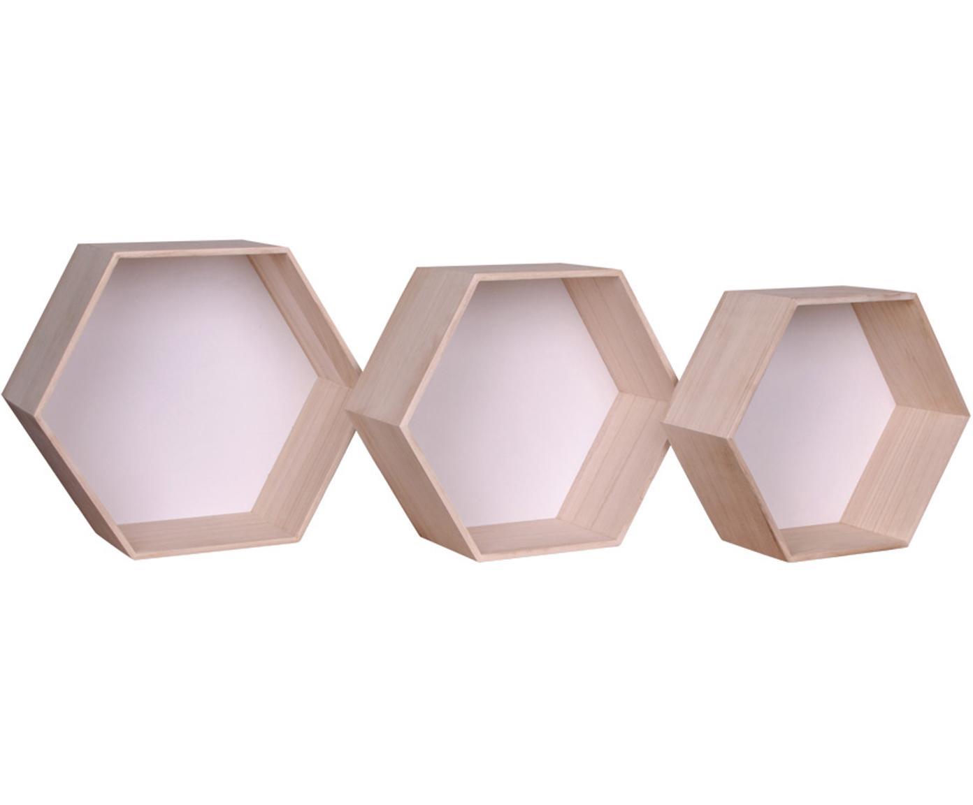 Set 3 mensole da parete Garda, Legno di Paulownia, Bianco, legno di paulownia, Diverse dimensioni
