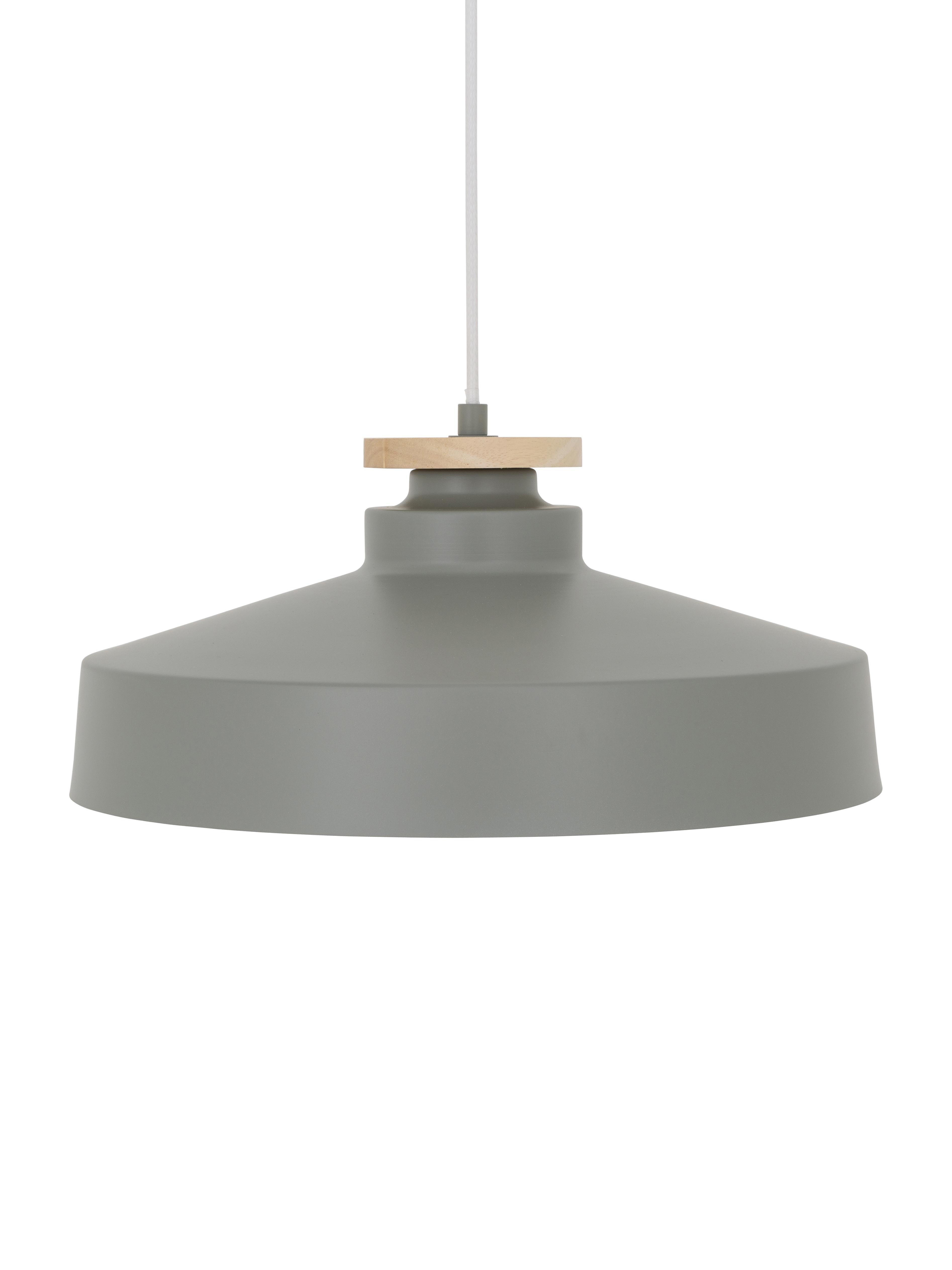 Skandi-Pendelleuchte Malm, Lampenschirm: Metall, Holz, Baldachin: Metall, Grau, Ø 40 x H 20 cm