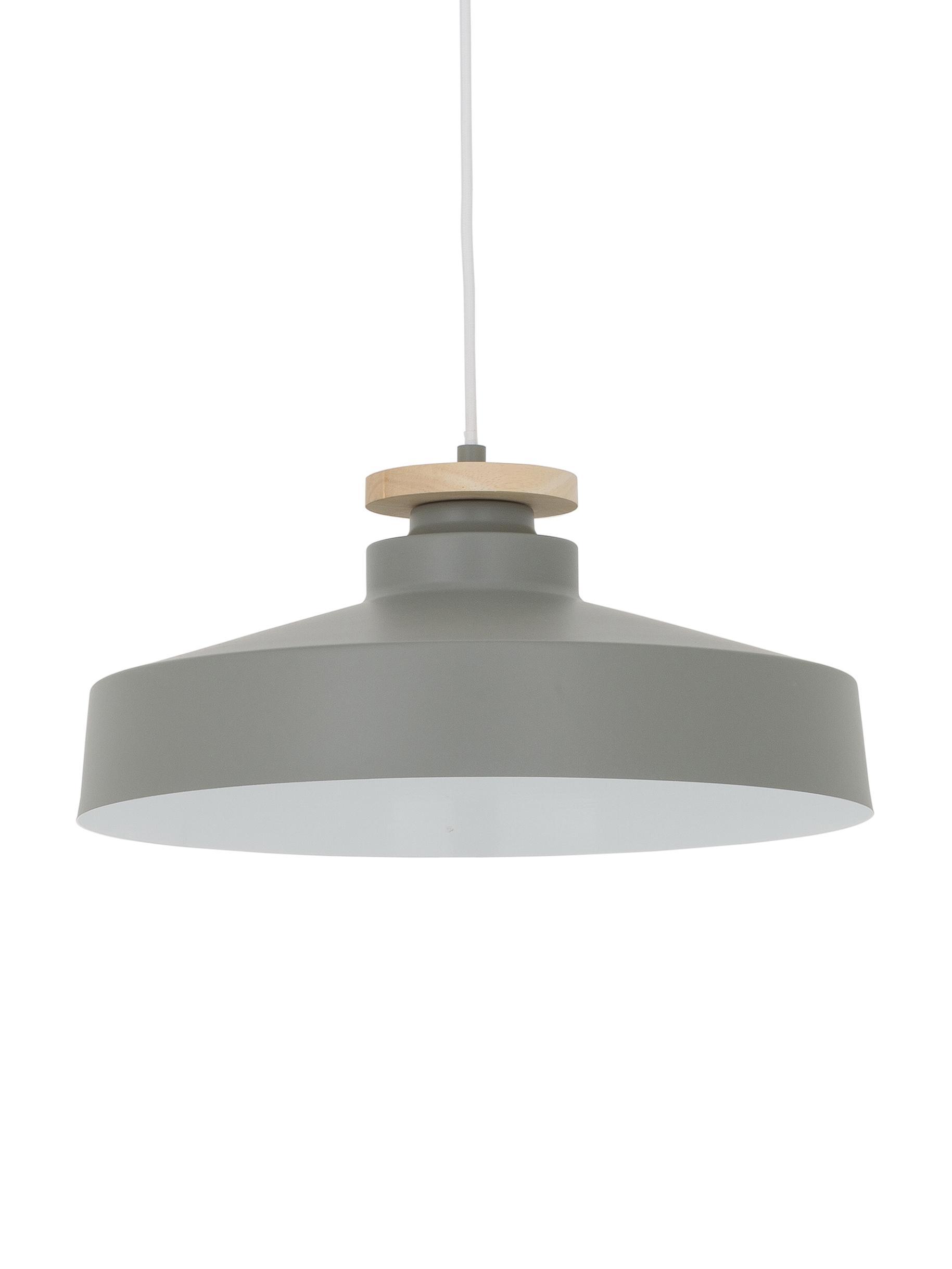 Lampada a sospensione stile nordico Malmö, Paralume: metallo, legno, Baldacchino: metallo, Grigio, Ø 40 x Alt. 20 cm