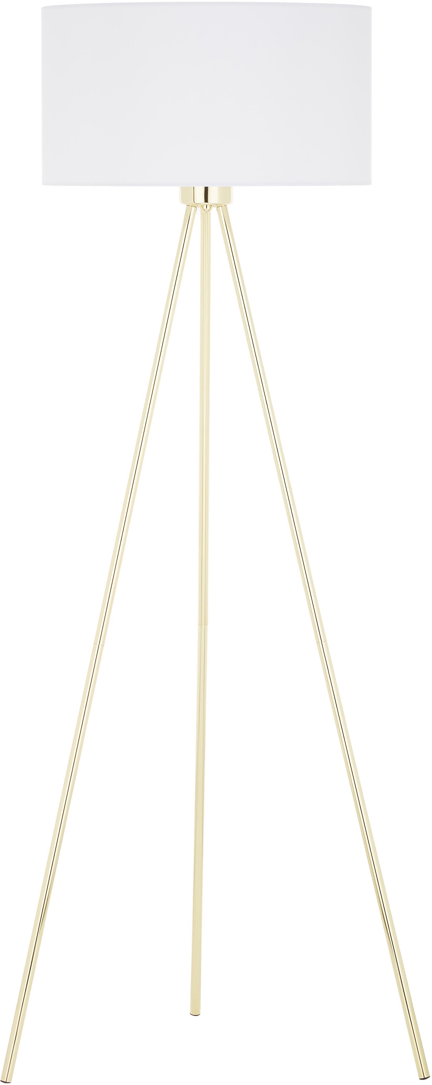 Lámpara de pie Cella, Pantalla: algodón, Dorado, brillante, blanco, Ø 45 x Al 148 cm