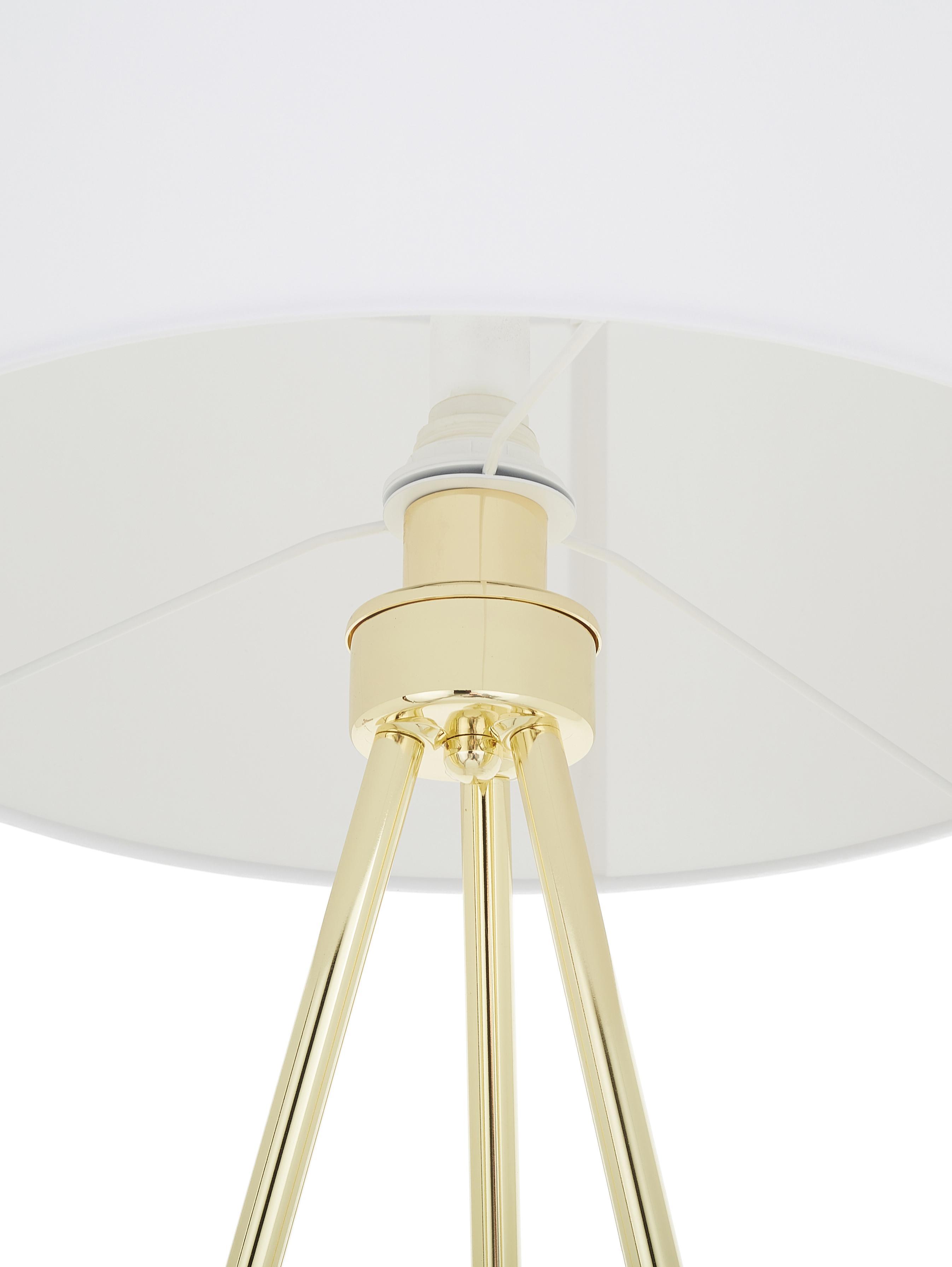 Tripod Stehlampe Cella mit Stoffschirm, Lampenschirm: Baumwollgeschmisch, Lampenfuss: Goldfarben, glänzendLampenschirm: Weiss, Ø 48 x H 158 cm
