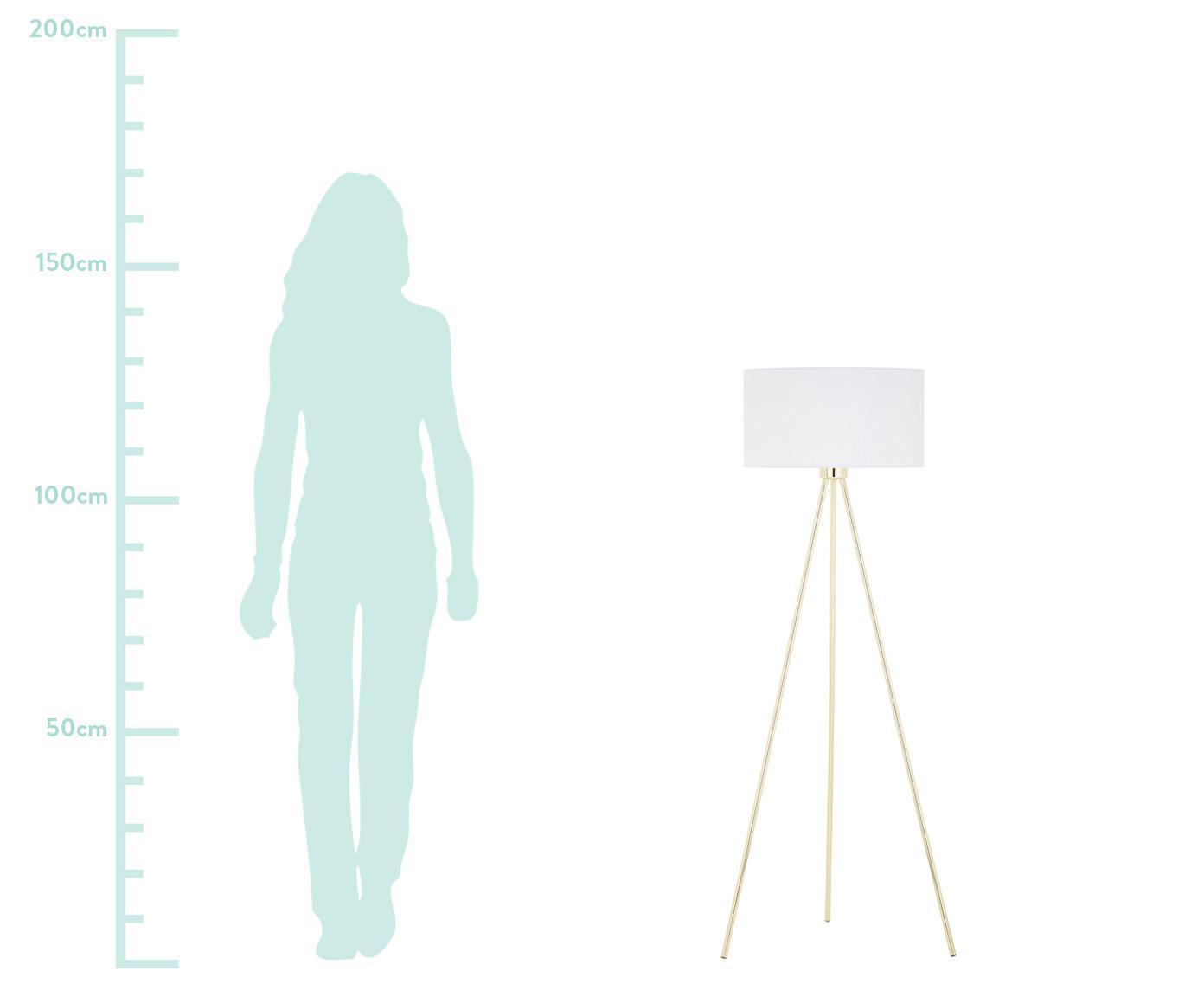 Lampa podłogowa Cella, Podstawa lampy: odcienie złotego, błyszczący Klosz: biały, Ø 45 x W 148 cm