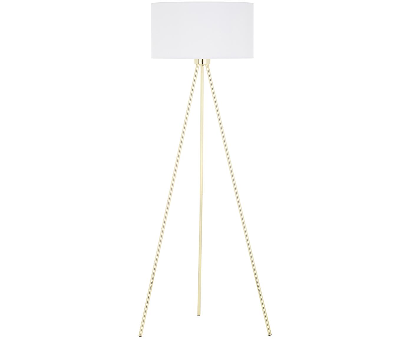 Lampada da terra Cella, Paralume: cotone, Base della lampada: metallo, Base della lampada: dorato lucido Paralume: bianco, Ø 45 x Alt. 148 cm