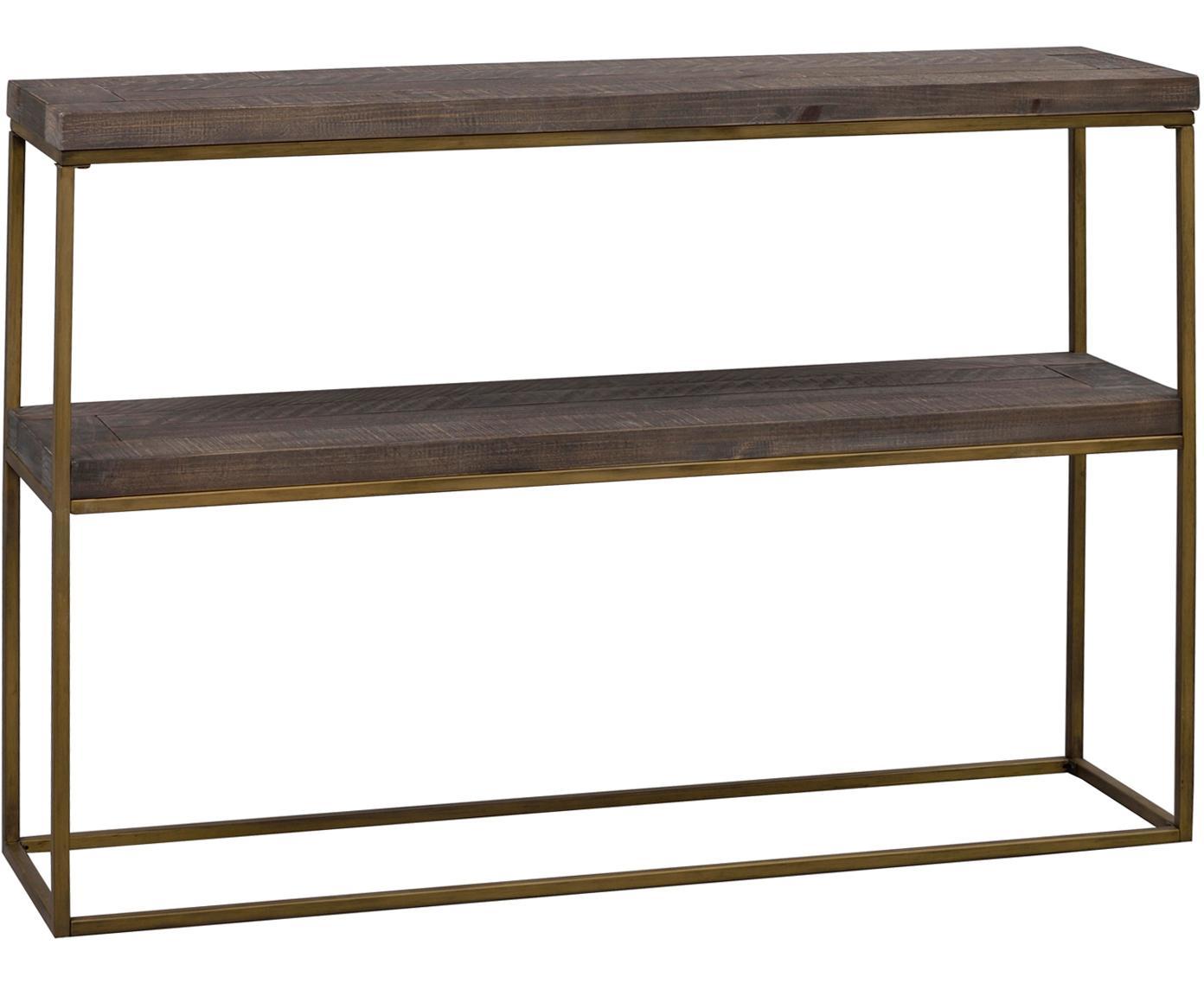 Sidetable Dalton, Frame: gelakt metaal, Planken: grijsbruin met zichtbare houtstructuur. Frame: goudkleurig, 121 x 84 cm