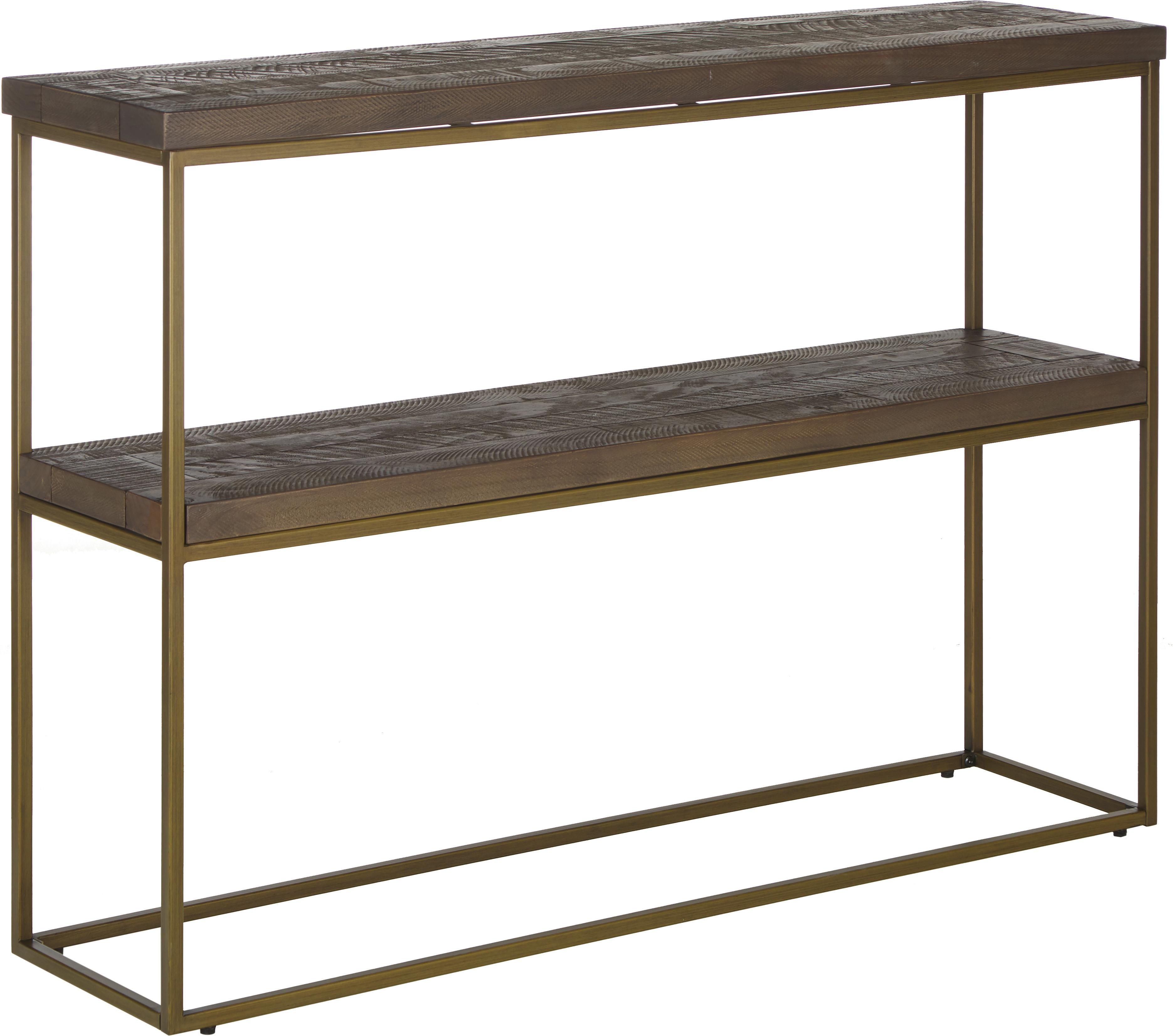 Consola Dalton, estilo industrial, Estantes: madera de pino, curtido, , Estructura: metal, pintado, Gris topo, dorado, An 121 x Al 84 cm