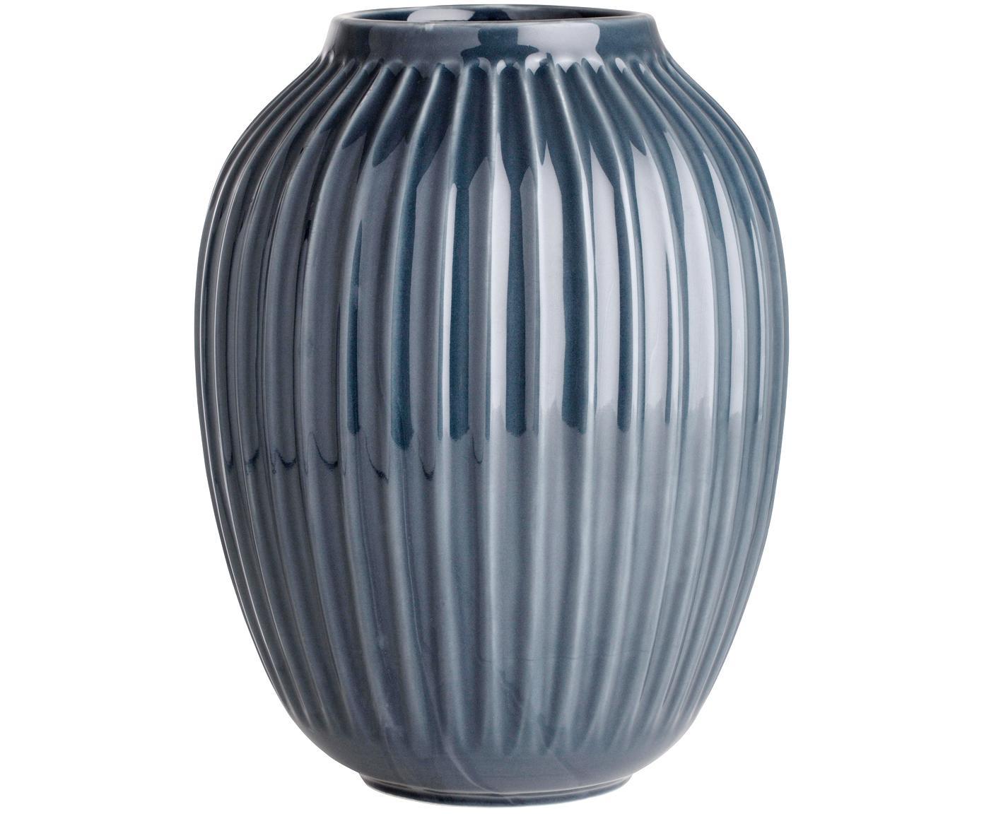Jarrón artesanal de diseño Hammershøi, Porcelana, Gris antracita, Ø 20 x Al 25 cm