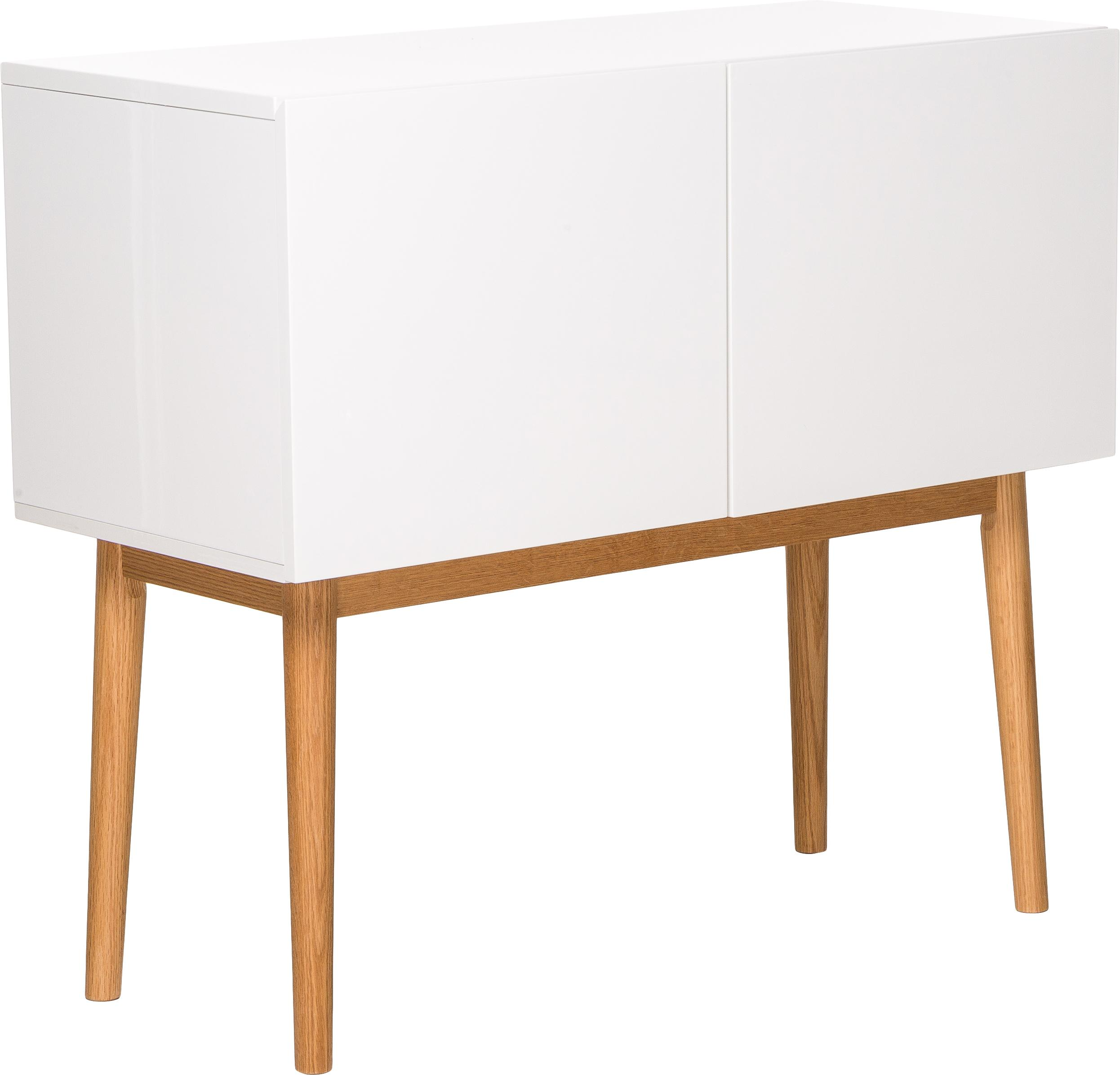 Kleine dressoir High on Wood in wit hoogglans, Frame: PU gelakt MDF, Poten: massief eikenhout, Wit, naturel, 90 x 80 cm