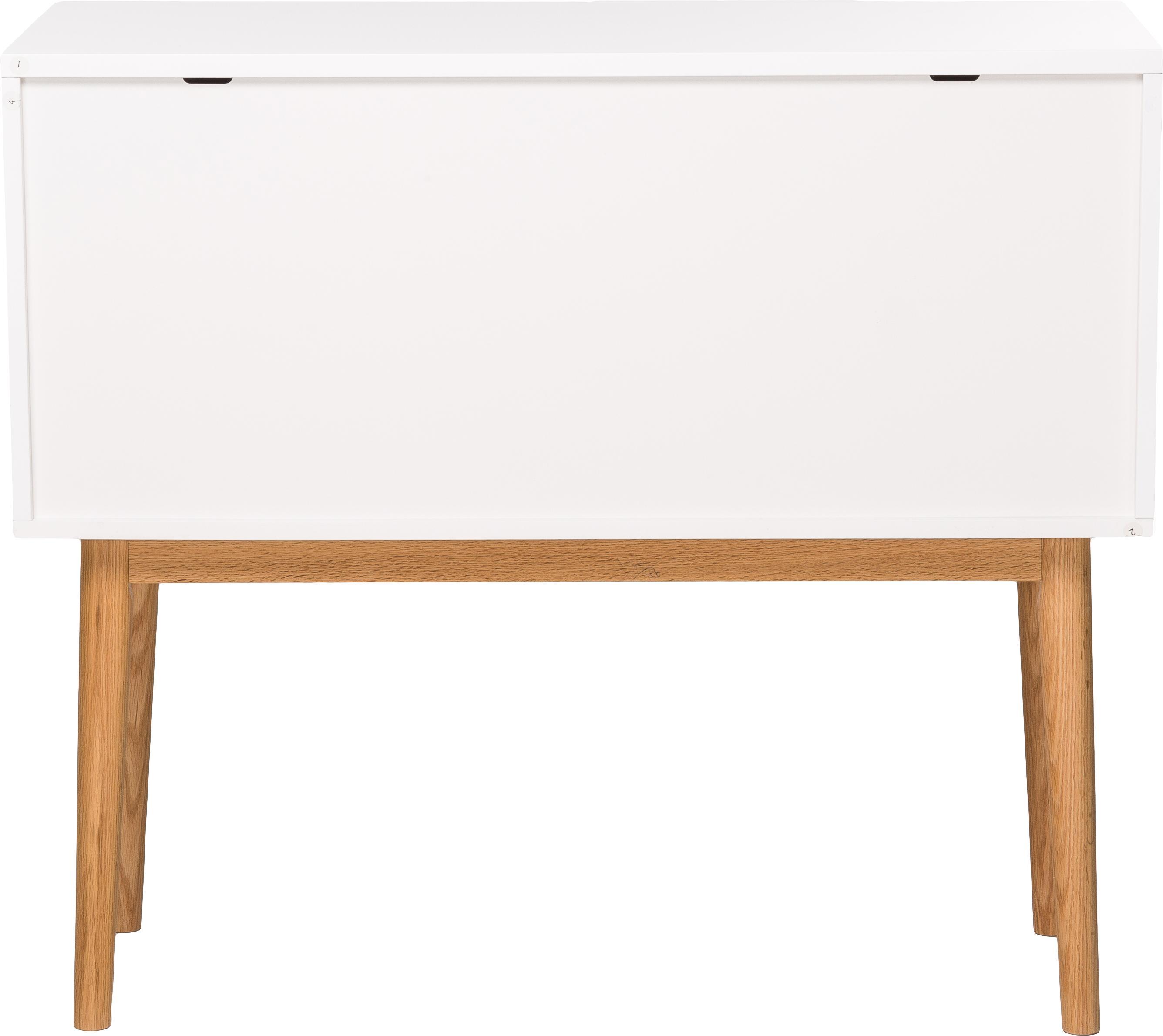 Kleines Sideboard High on Wood in Weiß Hochglanz, Korpus: Mitteldichte Holzfaserpla, Füße: Eiche massiv, Weiß, natur, 90 x 80 cm
