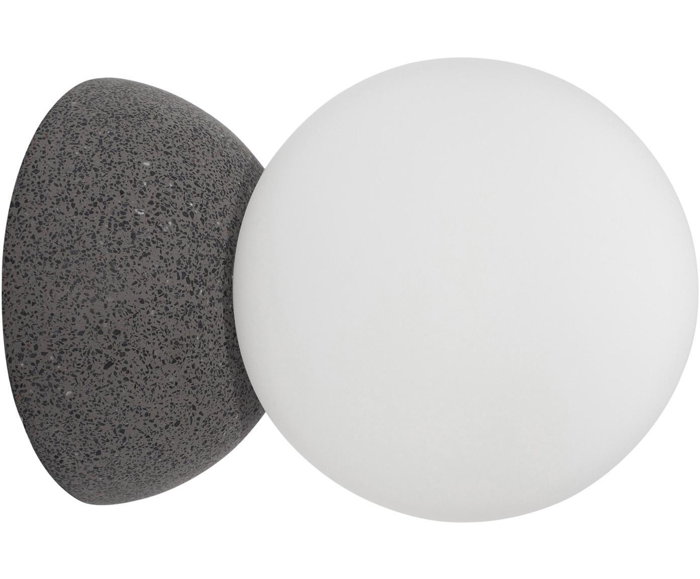 Wandleuchte Zero aus Opalglas, Lampenschirm: Opalglas, Grau, Weiß, Ø 10 x T 14 cm