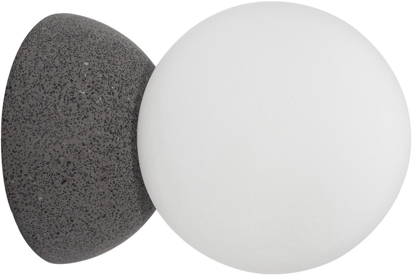 Kinkiet ze szkła opałowego Zero, Szary, biały, Ø 10 x G 14 cm