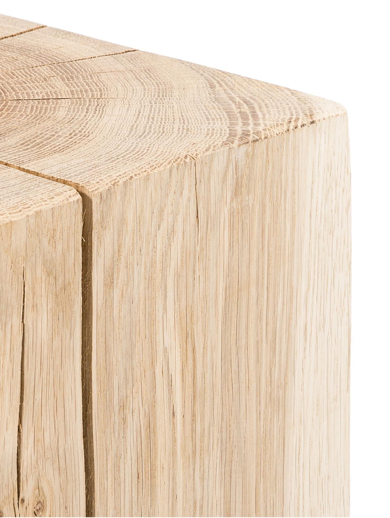 Tabouret en bois de chêne massif Block, Chêne