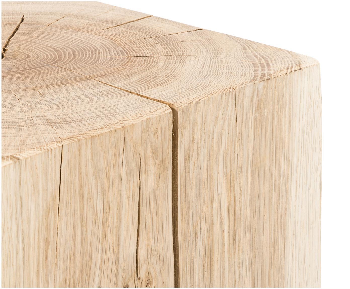 Stołek z litego drewna dębowego Block, Drewno dębowe, Drewno dębowe, S 29 x W 40 cm