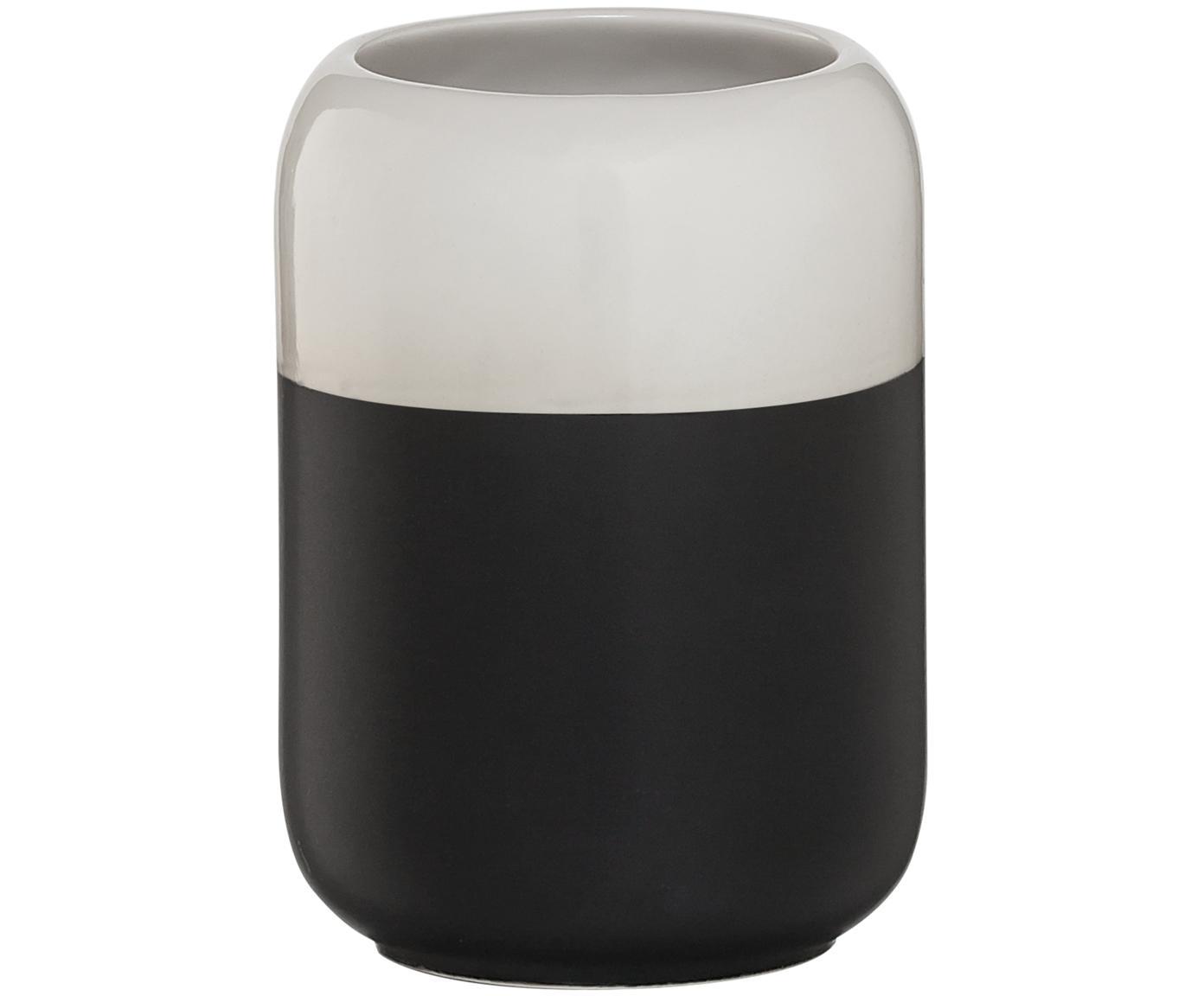 Vaso cepillo de dientes Sphere, Porcelana, Negro, blanco, Ø 7 x Al 10 cm