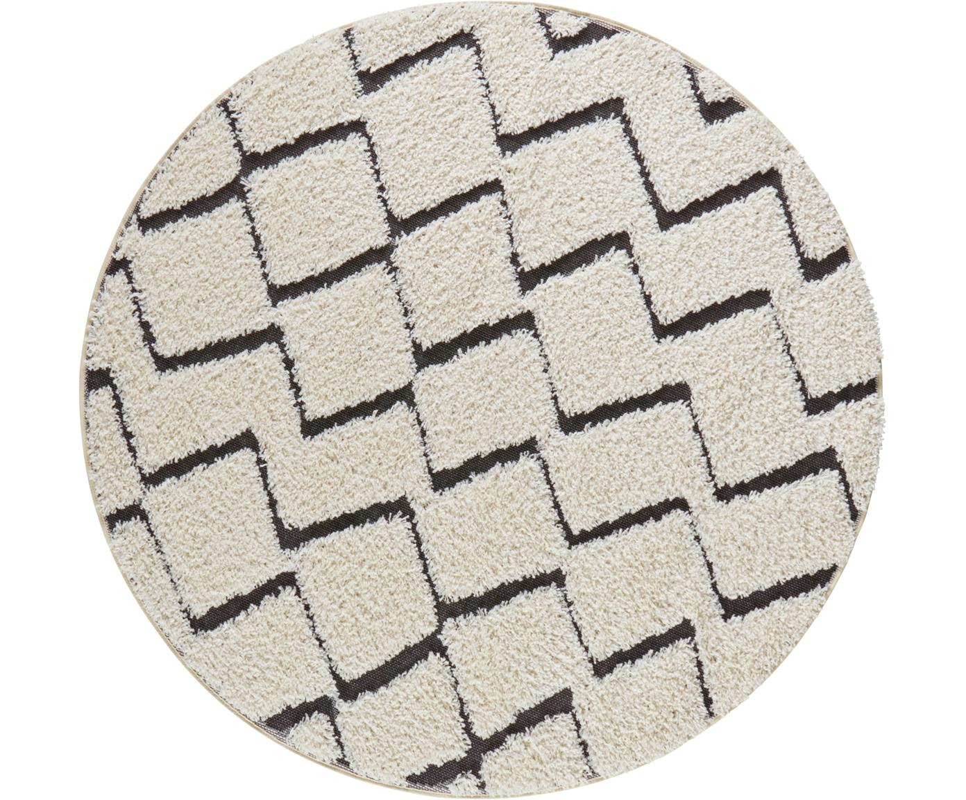 Rond vloerkleed Dades met hoog-laag patroon, Polypropyleen, Crèmekleurig, zwart, Ø 160 cm