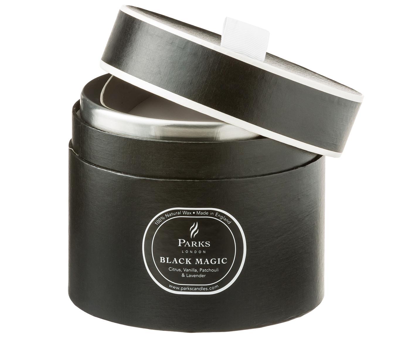 Bougie parfumée à trois mèches Black Magic (agrumes et vanille), Noir, blanc