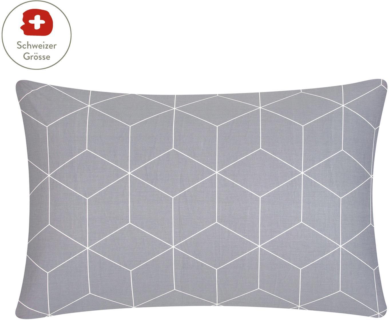 Baumwoll-Kissenbezug Lynn mit grafischem Muster, Webart: Renforcé Fadendichte 144 , Grau, Cremeweiss, 65 x 100 cm