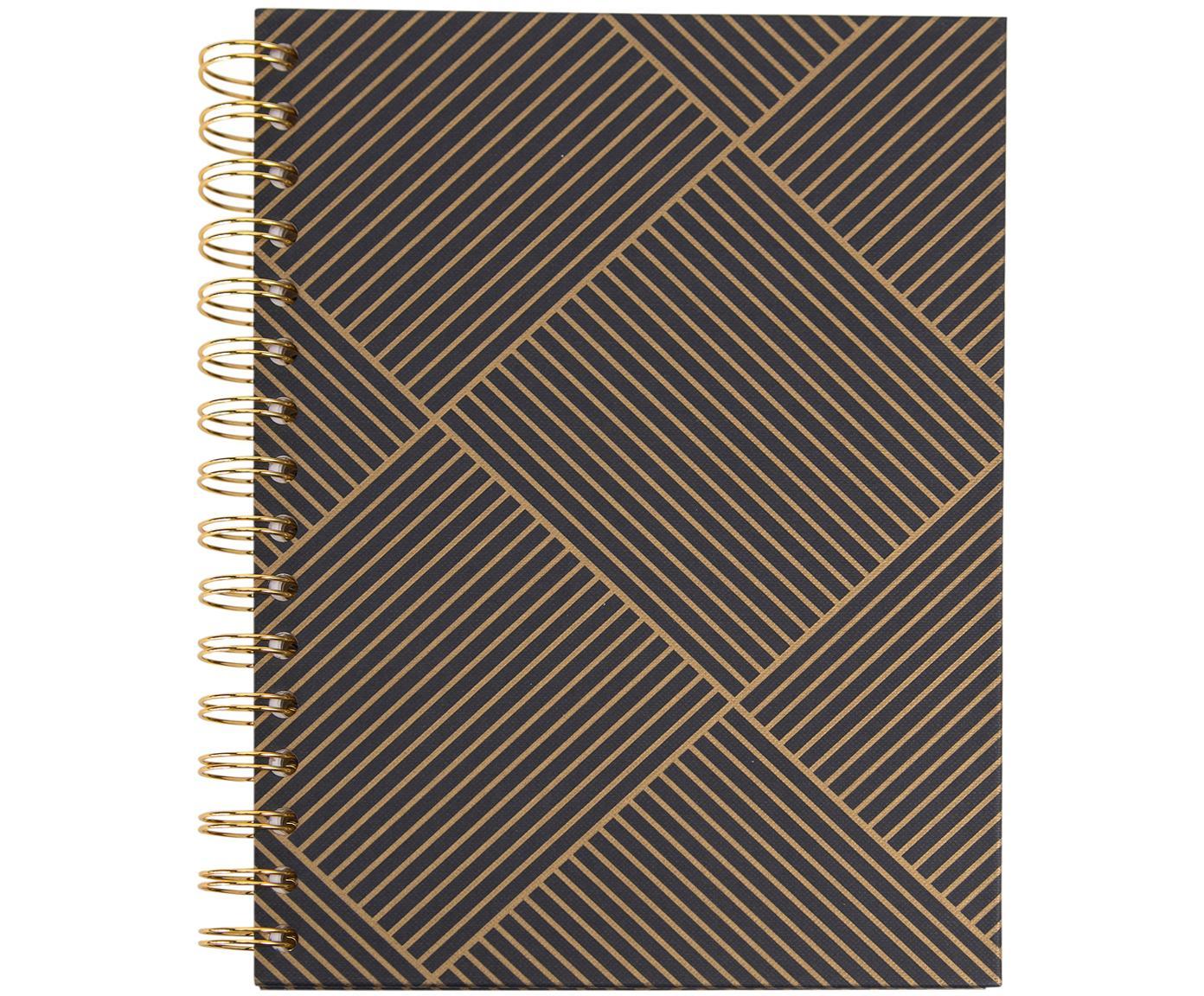 Quaderno a spirale Bürli, Dorato, grigio scuro, Larg. 16 x Alt. 21 cm