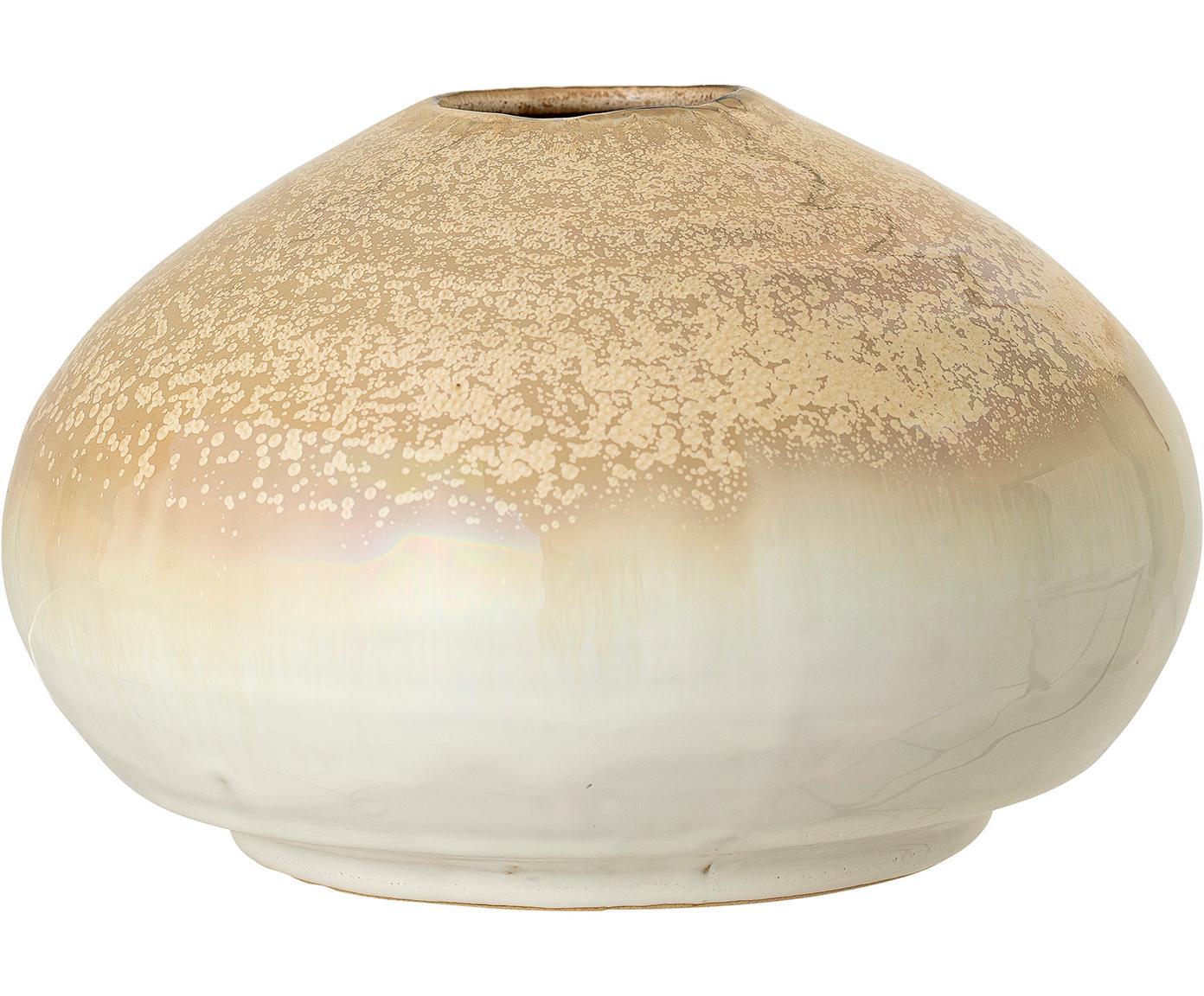 XS handgefertigte Vase Nina aus Steingut, Steingut, Beige, Ø 12 x H 8 cm