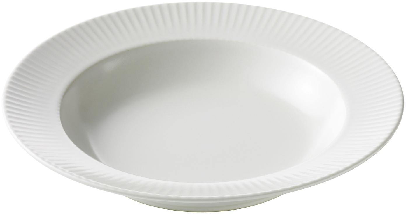 Weiße Suppenteller Groove mit Rillenstruktur, 4 Stück, Steingut, Weiß, Ø 23 x H 4 cm