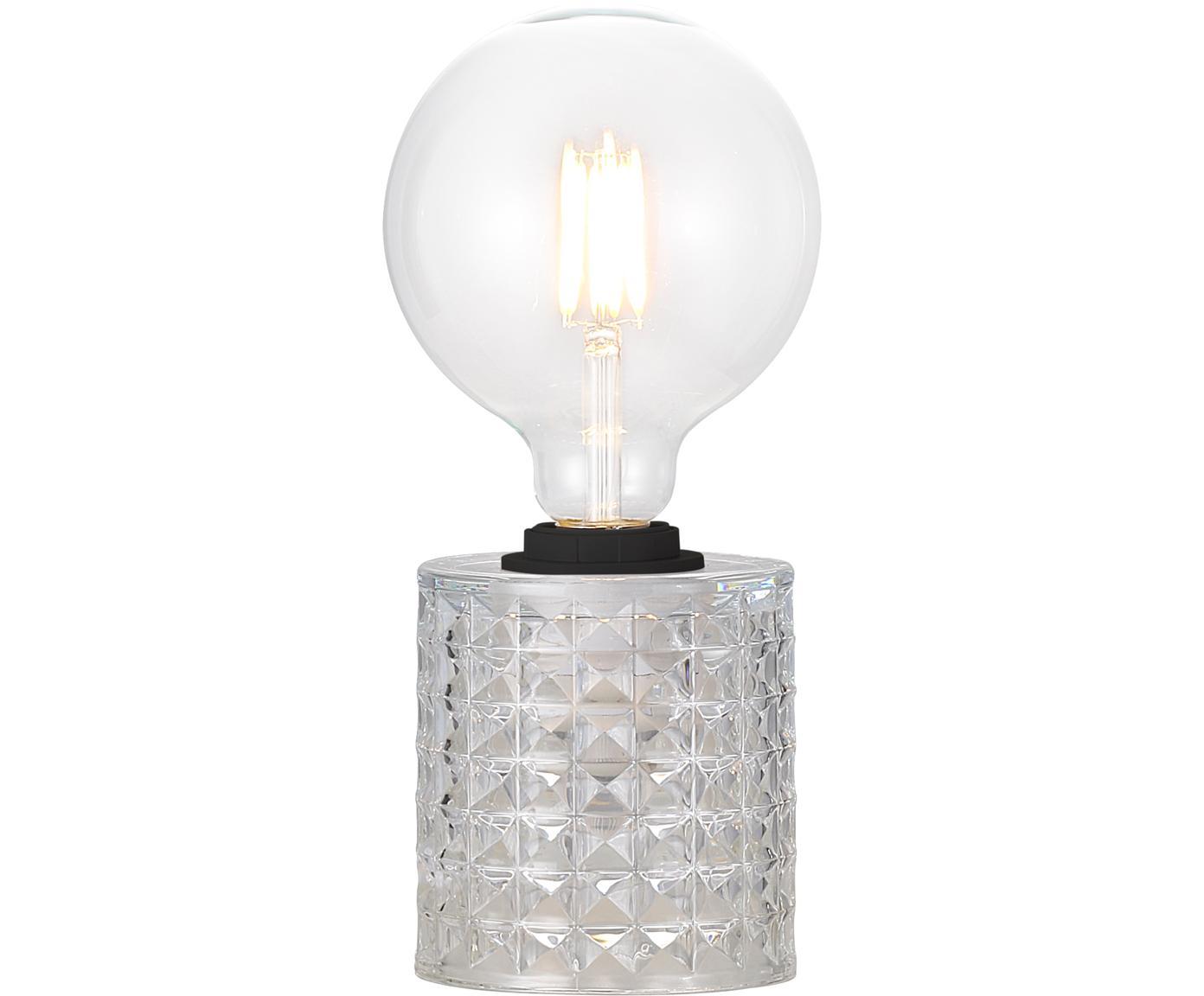 Tafellamp Hollywood van glas, Fitting: kunststof, Transparant, Ø 11 x H 13 cm