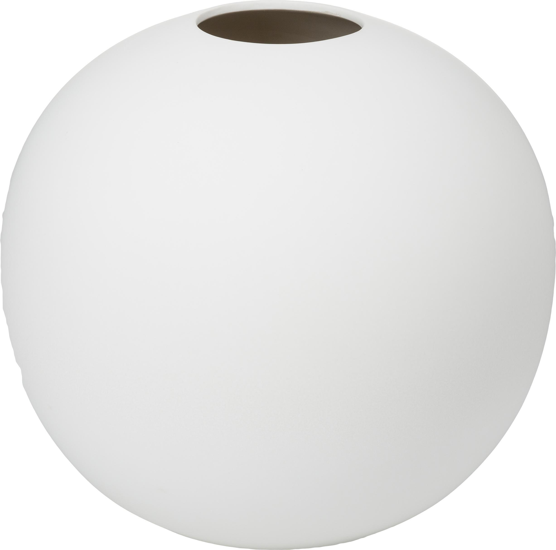 Jarrón artesanal Ball, Cerámica, Blanco, Ø 20 x Al 20 cm