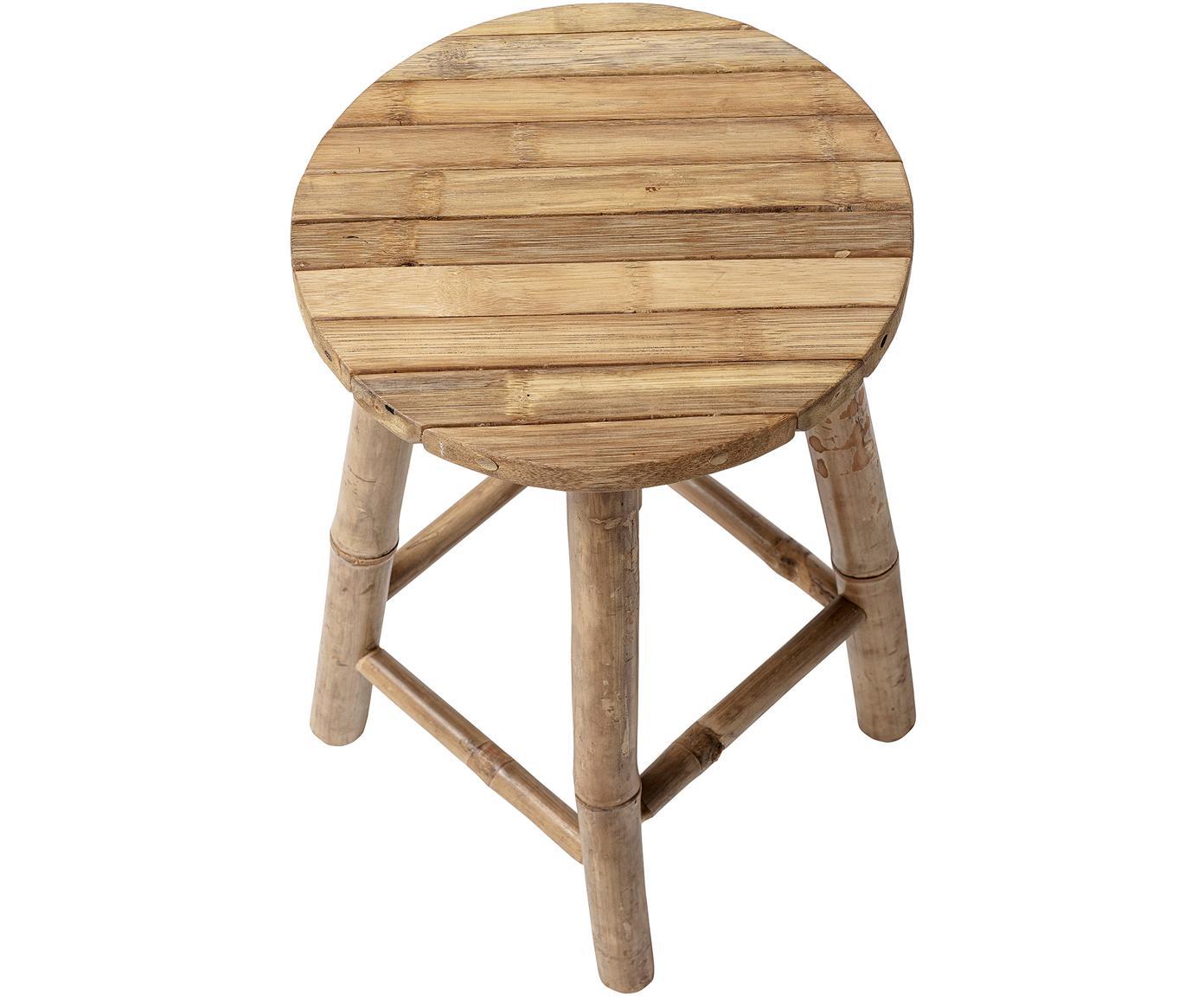 Stołek z drewna bambusowego Sole, Drewno bambusowe, Beżowy, Ø 30 x W 50 cm