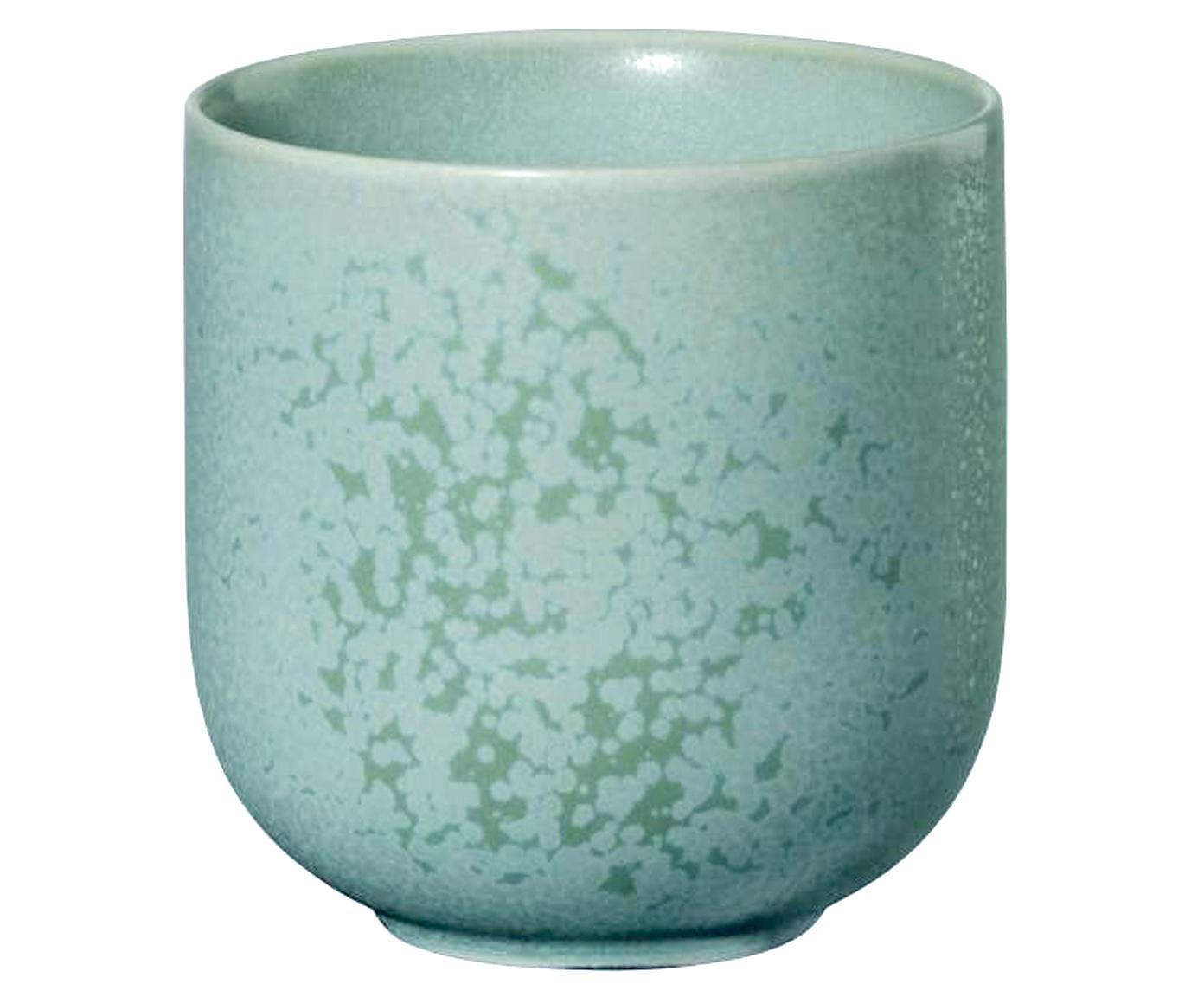 Handgemachte Becher Coppa in Mintgrün gesprenkelt, 2 Stück, Porzellan, Mintgrün, Ø 8 x H 8 cm