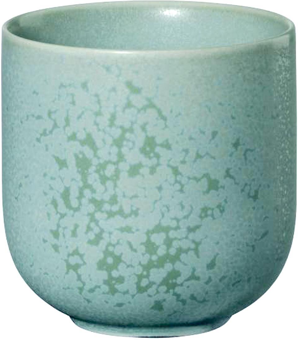 Ręcznie wykonany kubek Coppa, 2 szt., Porcelana, Zielony miętowy, Ø 8 x W 8 cm