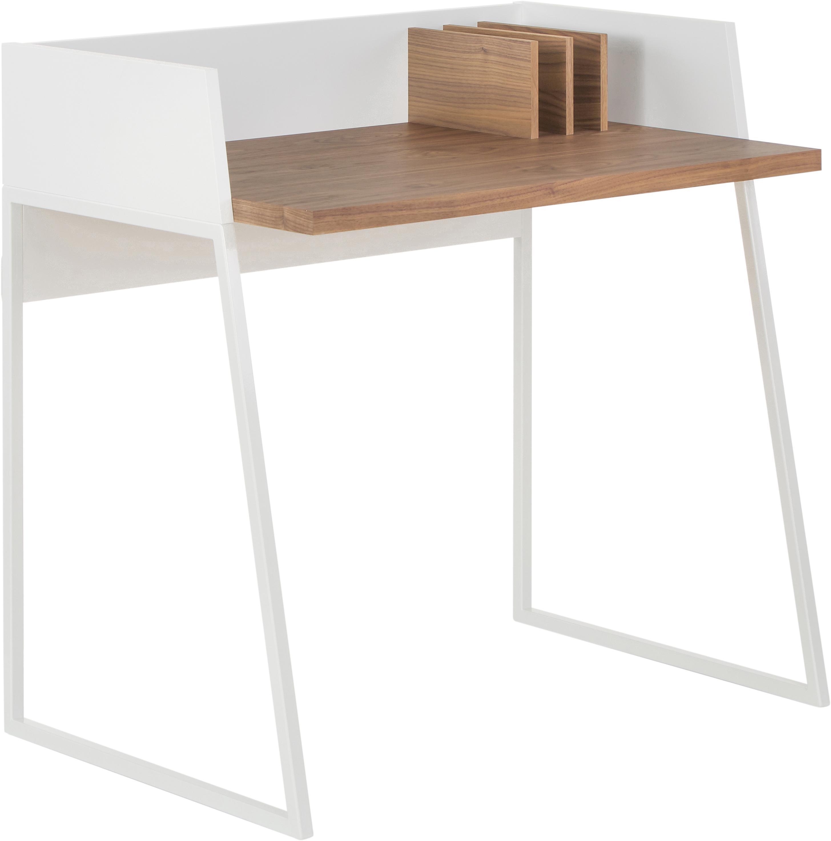Kleiner Schreibtisch Camille mit Ablage, Beine: Metall, lackiert, Walnussholz, Weiss, B 90 x T 60 cm