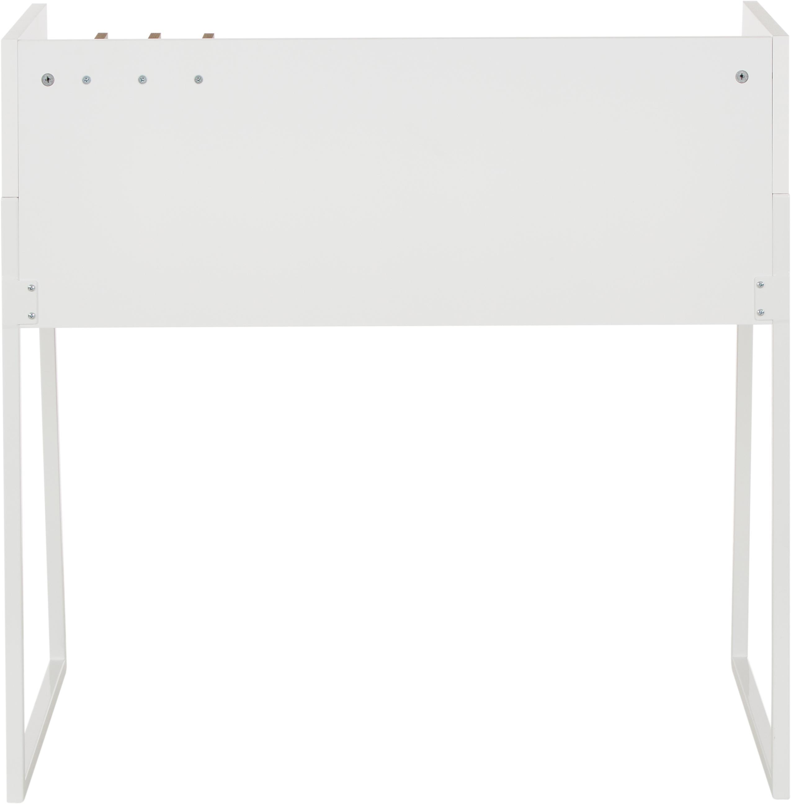 Scrittoio con ripiano Camille, Gambe: metallo verniciato, Legno di noce, bianco, Larg. 90 x Prof. 60 cm