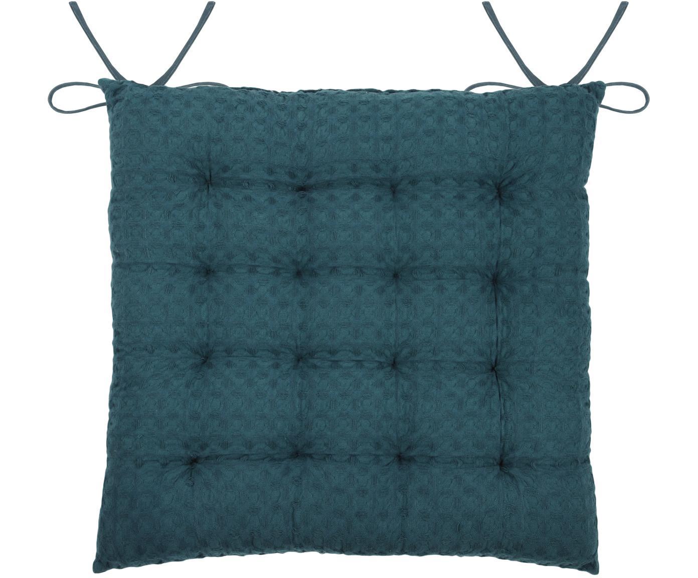 Cuscino sedia Gopher, Rivestimento: cotone, Blu petrolio, Larg. 40 x Lung. 40 cm