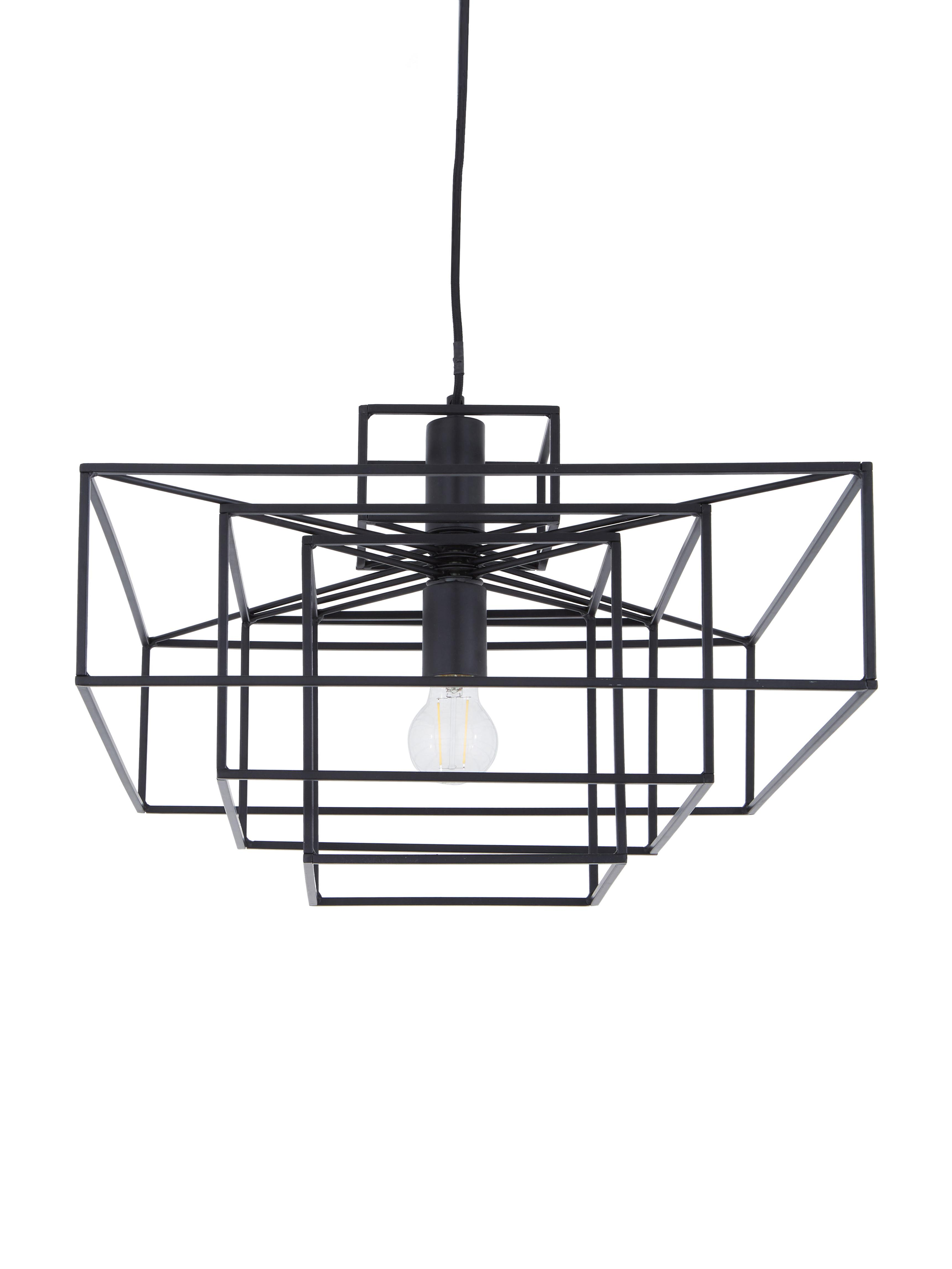 Hanglamp Cube in zwart, Gelakt metaal, Mat zwart, 46 x 50 cm