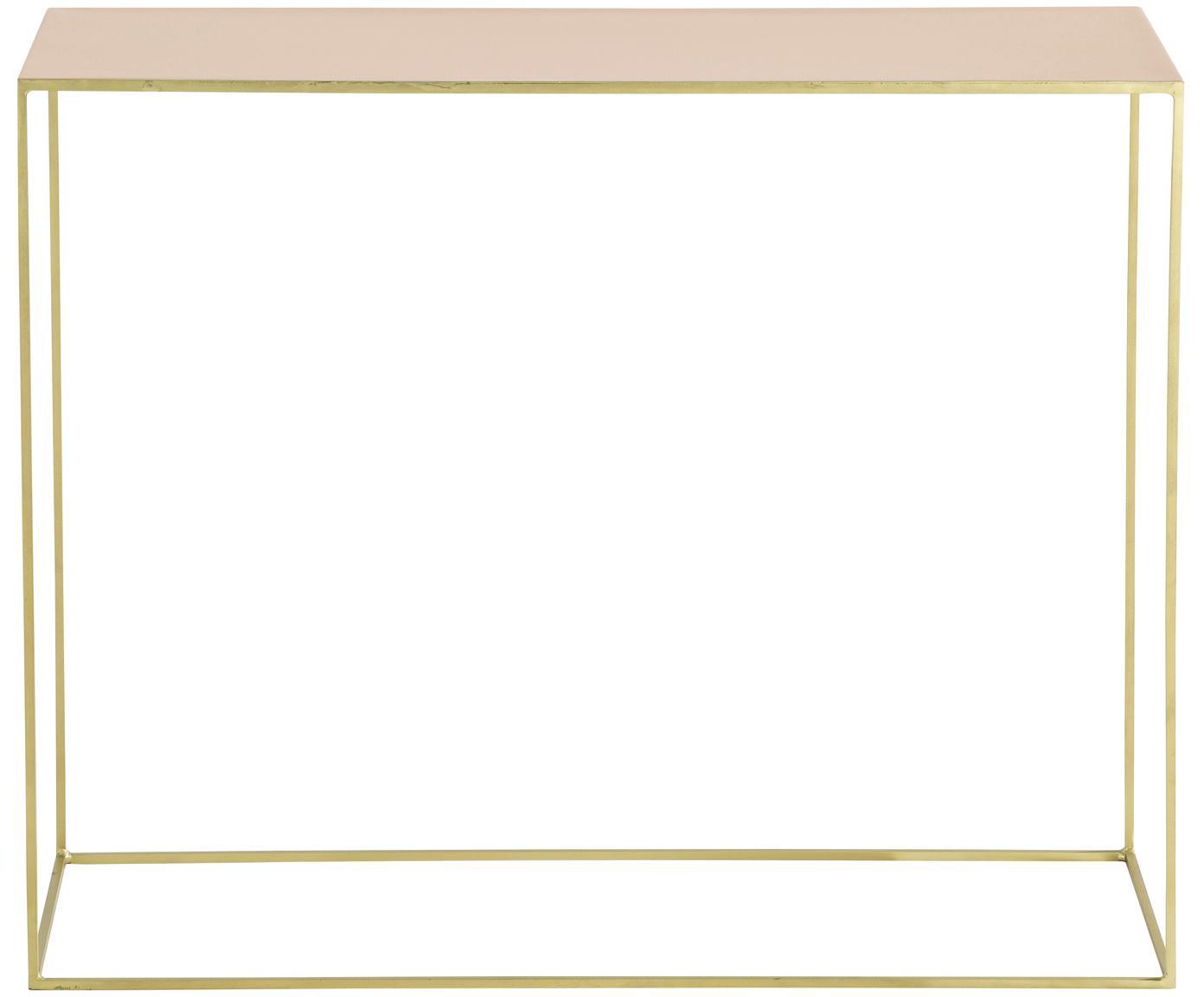 Konsola z metalu Freja, Stelaż: metal lakierowany, Blat: metal lakierowany, Odcienie mosiądzu, odcienie łososiowego, S 100 x G 40 cm