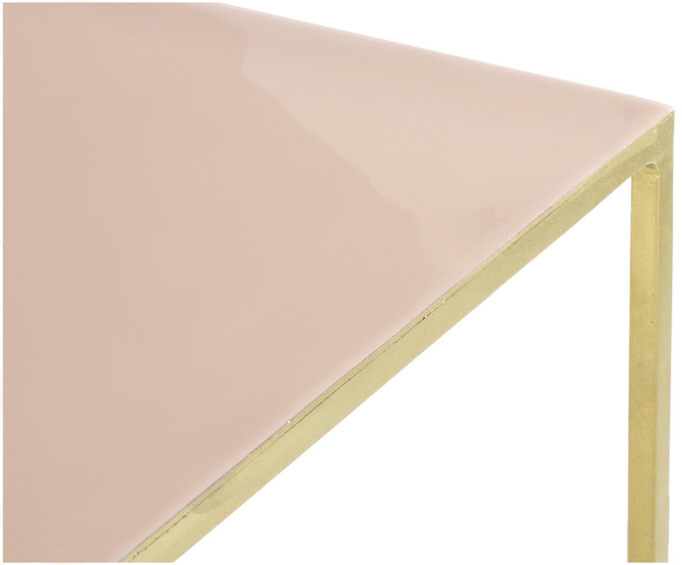Sidetable Freja van metaal, Frame: gelakt metaal, Tafelblad: geëmailleerd metaal, Messingkleurig, zalmkleurig, B 100 x D 40 cm