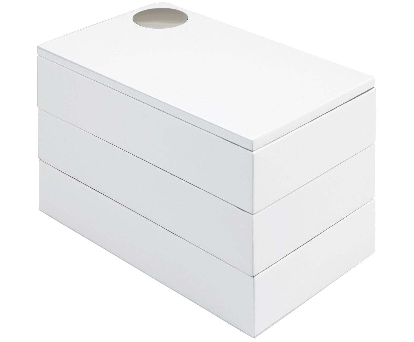 Schmuckbox Spindle, Buchenholz, lackiert, Weiss, 19 x 13 cm