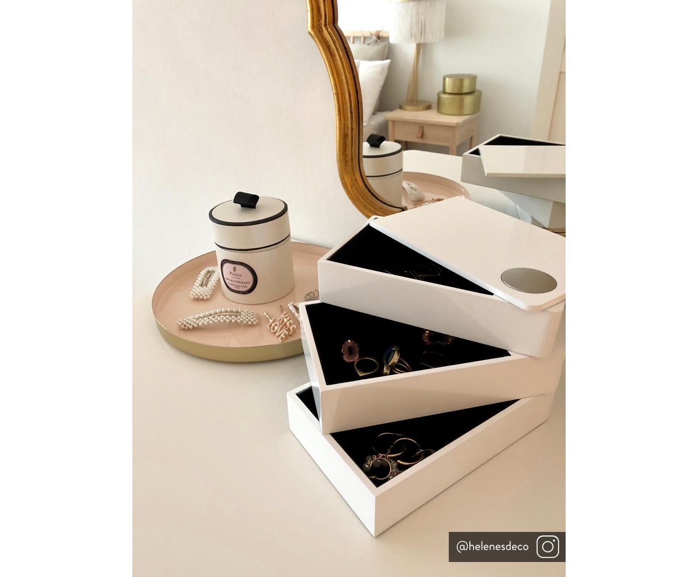 Sieradendoos Spindle, Gelakt beukenhout, Wit, 19 x 13 cm