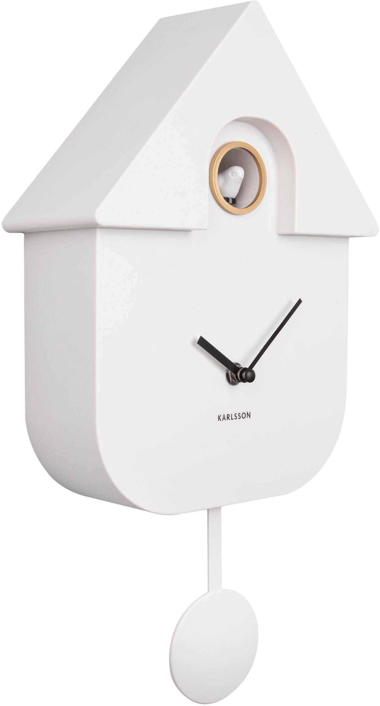 Wanduhr Modern Cuckoo, Kunststoff, Weiß, Schwarz, 22 x 41 cm