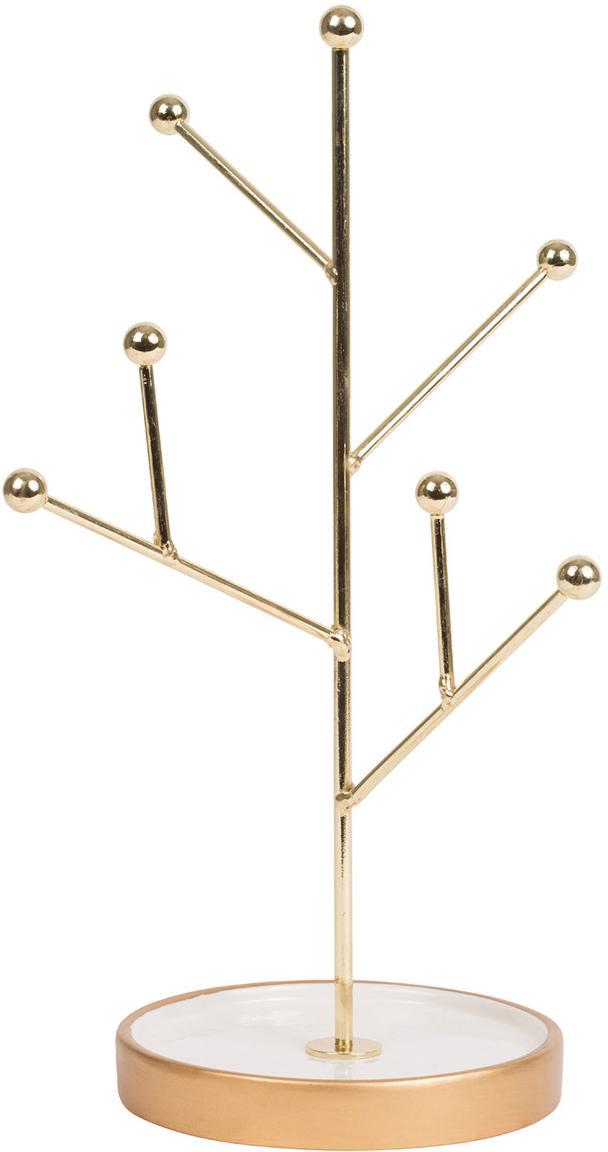 Sieradenhouder Bijou, Gecoat metaal, keramiek, Goudkleurig, wit, Ø 18 x H 30 cm