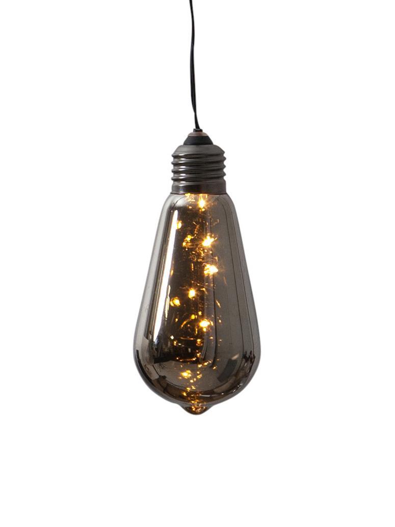 Decoratieve LED peertjes Glow met tijdschakelaar, 2 stuks, Lampenkap: getint glas, Fitting: gecoat metaal, Zwart, Ø 6 x H 13 cm